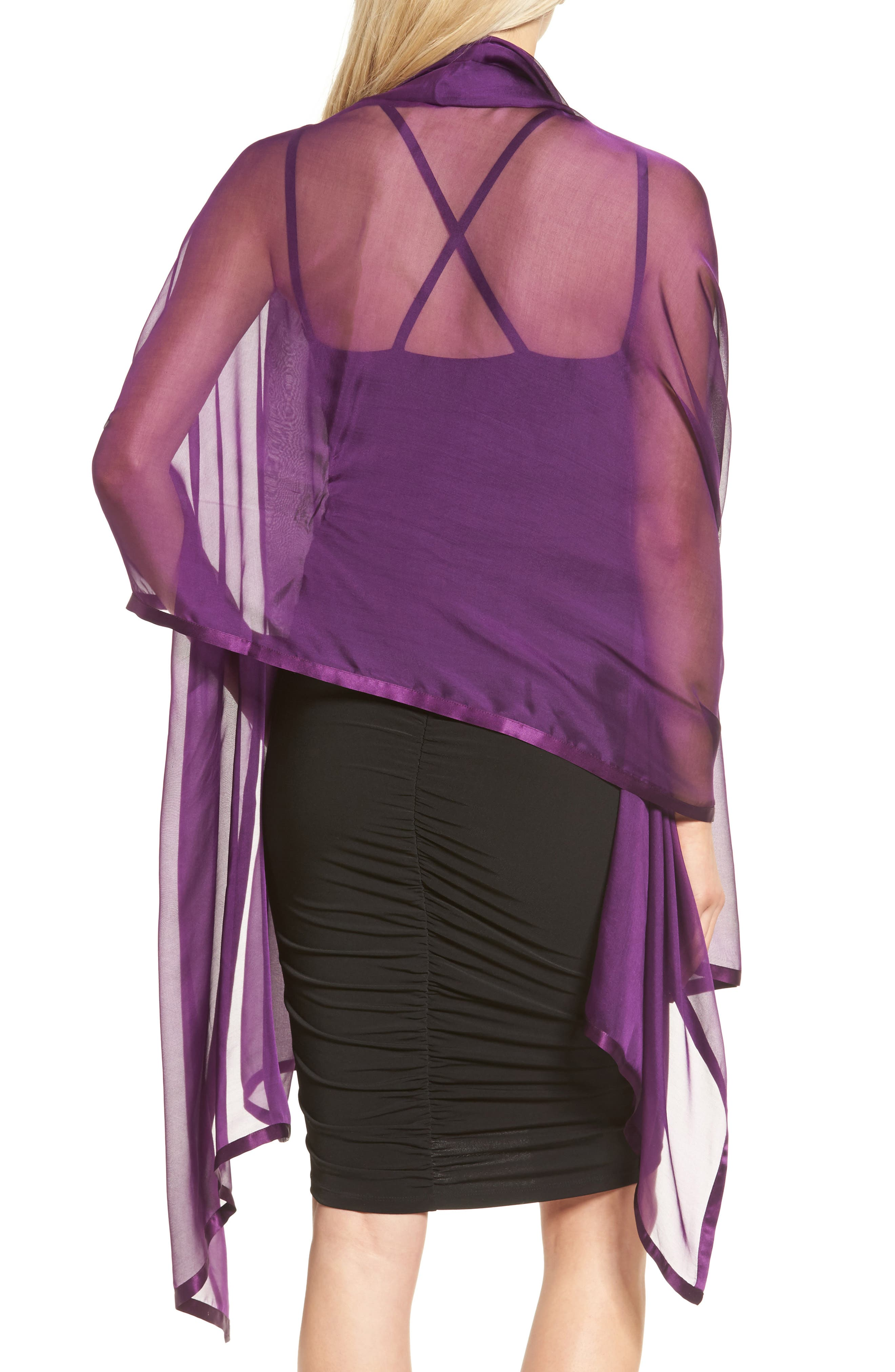 Satin Border Silk Wrap,                             Alternate thumbnail 17, color,