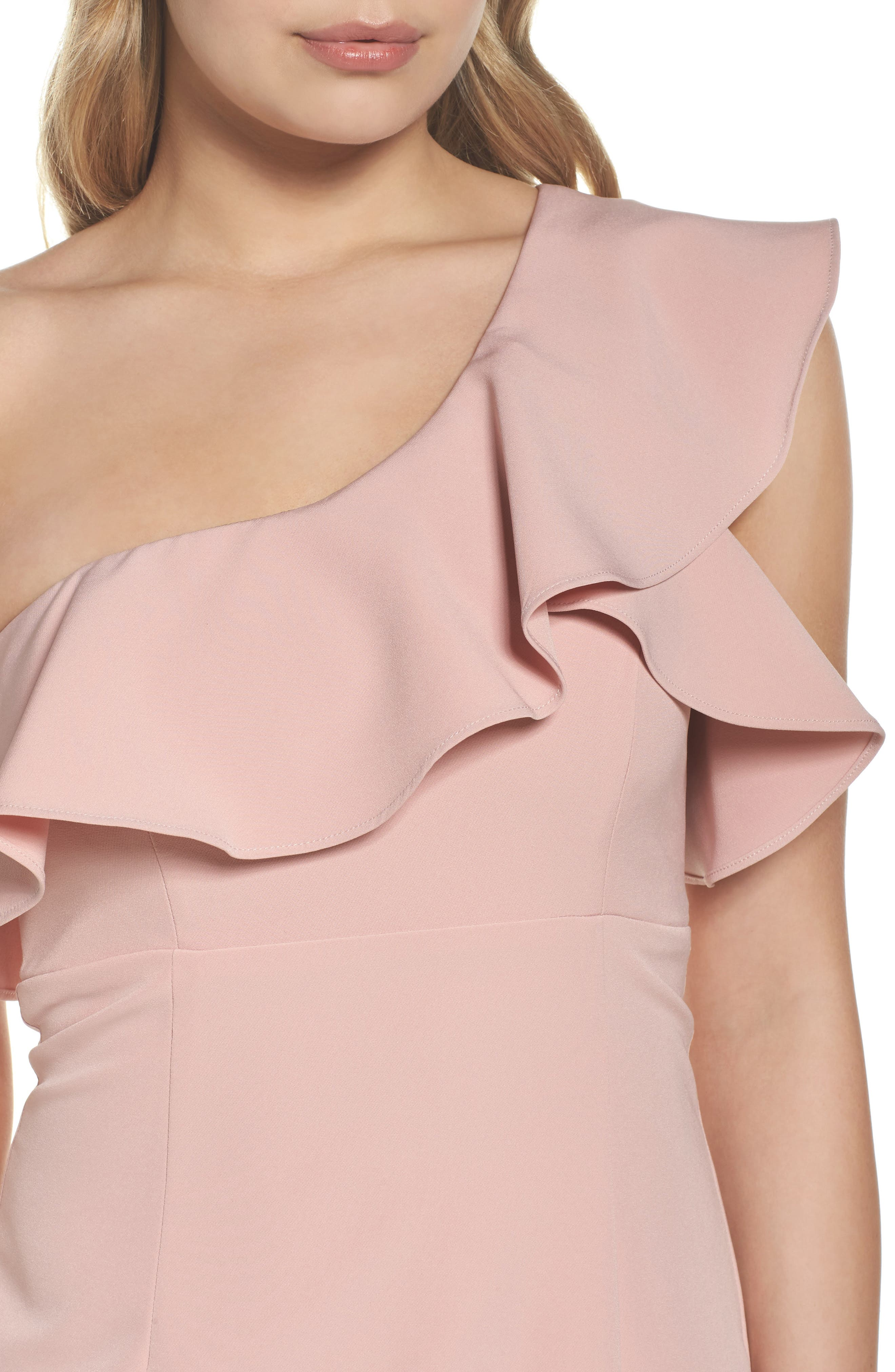 One-Shoulder Ruffle Sheath Dress,                             Alternate thumbnail 8, color,