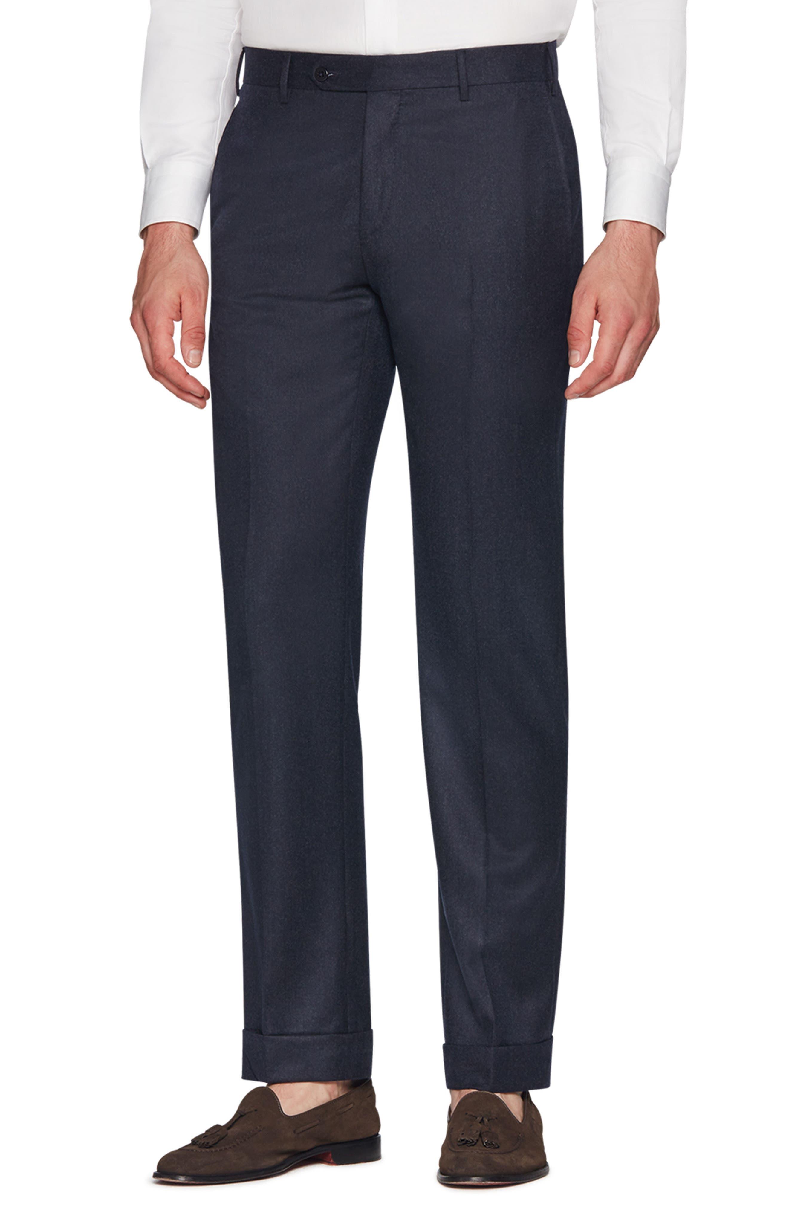 ZANELLA Parker Flat Front Wool Flannel Trousers in Navy