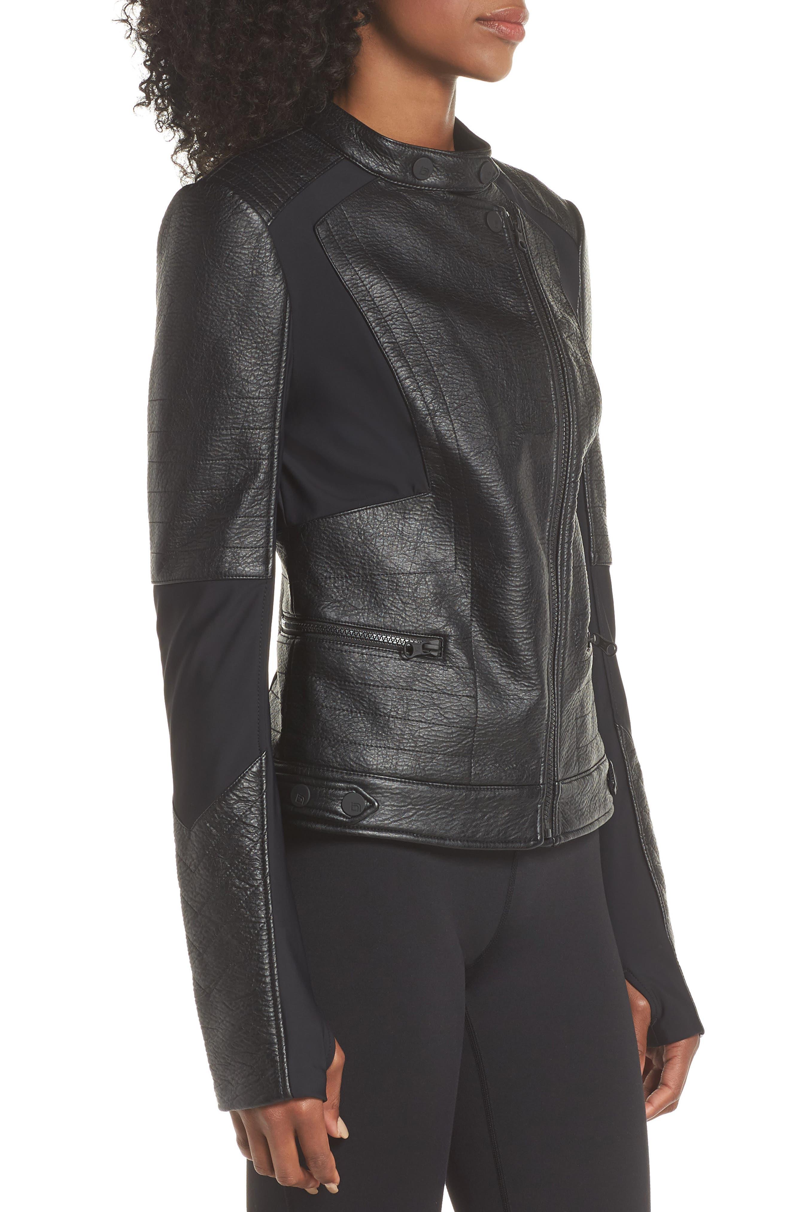 Ryder Faux Leather Moto Jacket,                             Alternate thumbnail 3, color,                             BLACK/ GREY