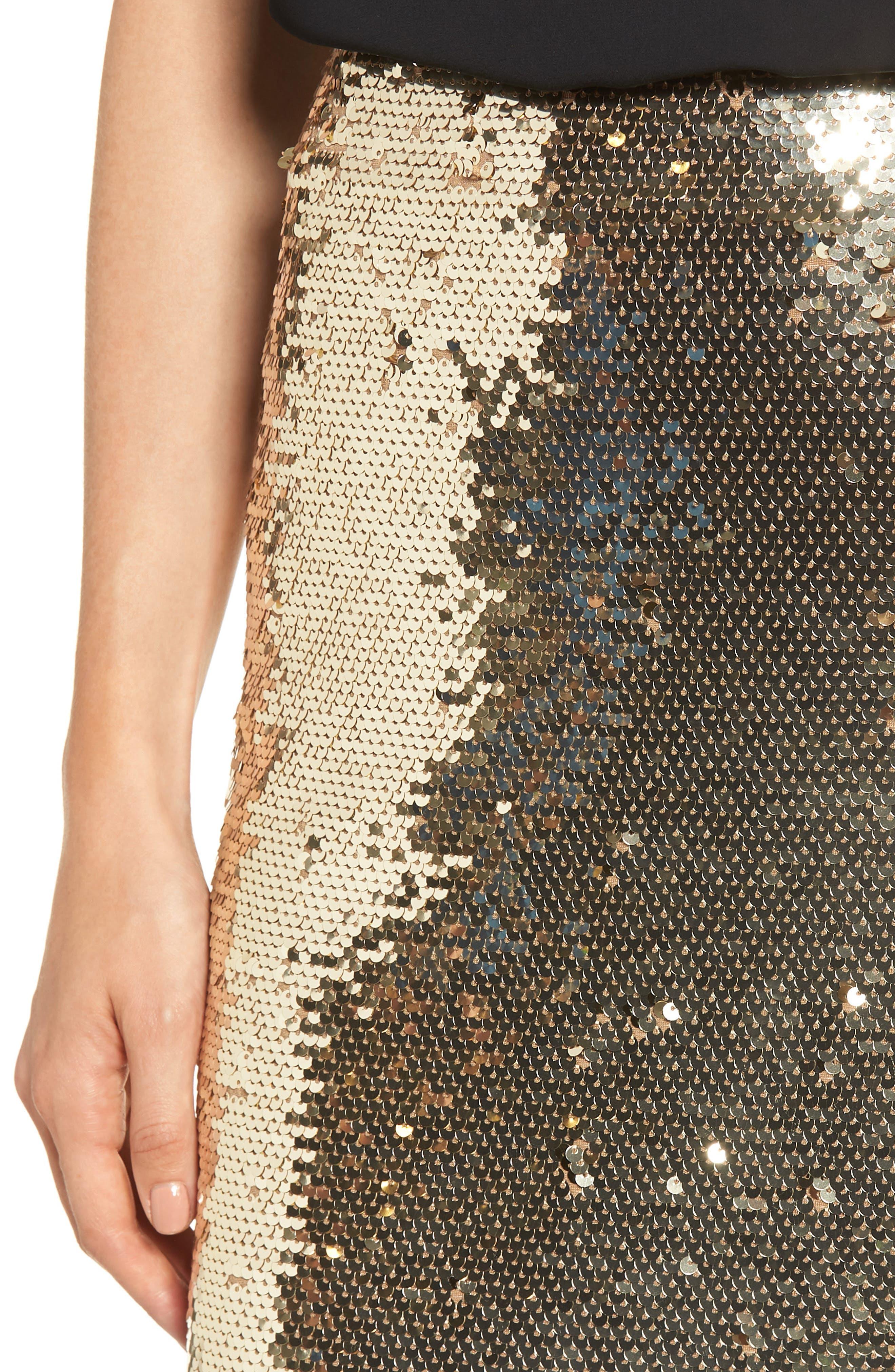 Sequin Pencil Skirt,                             Alternate thumbnail 4, color,                             GOLD