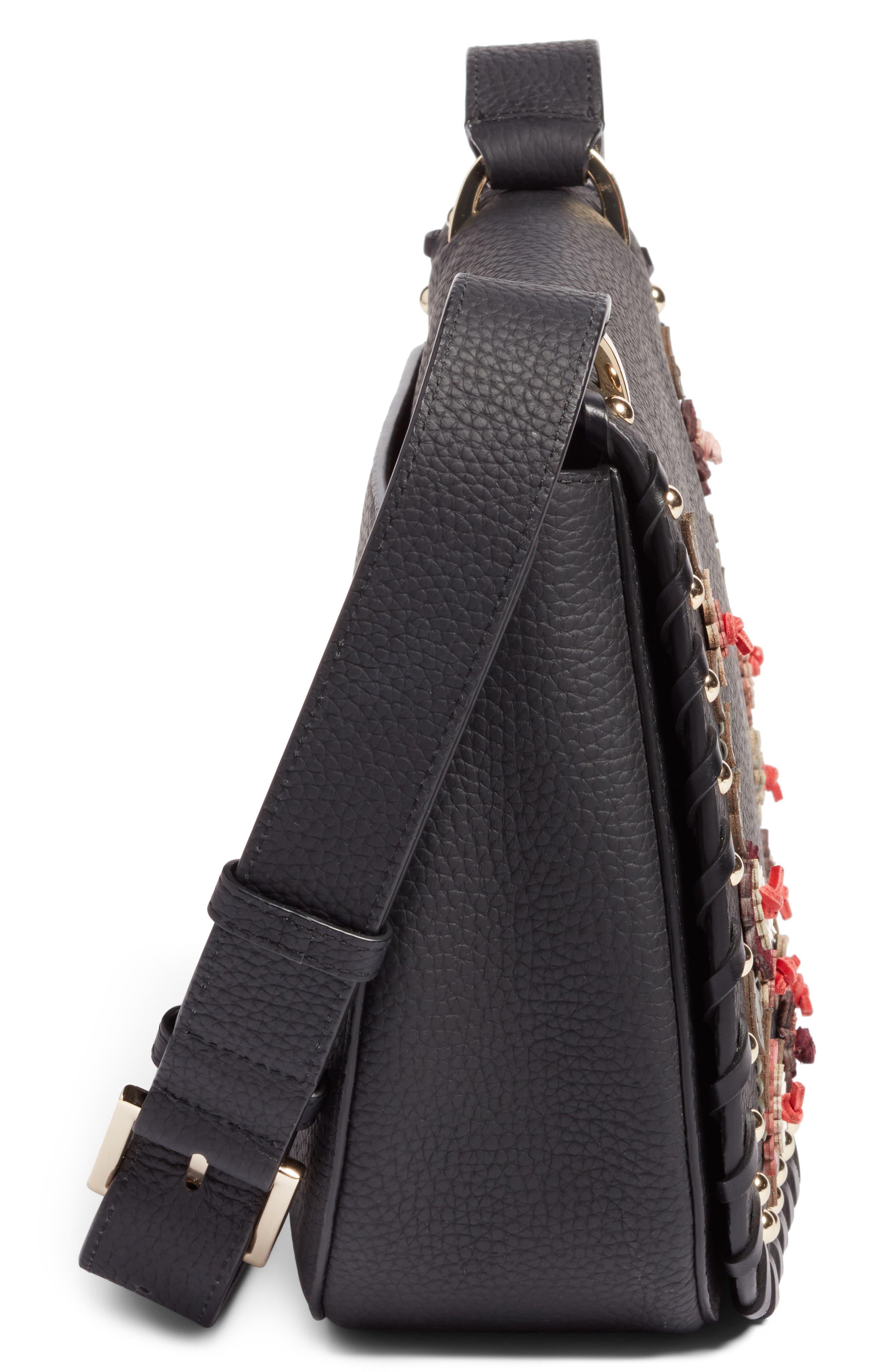 madison daniels drive - tressa embellished leather crossbody bag,                             Alternate thumbnail 5, color,                             001
