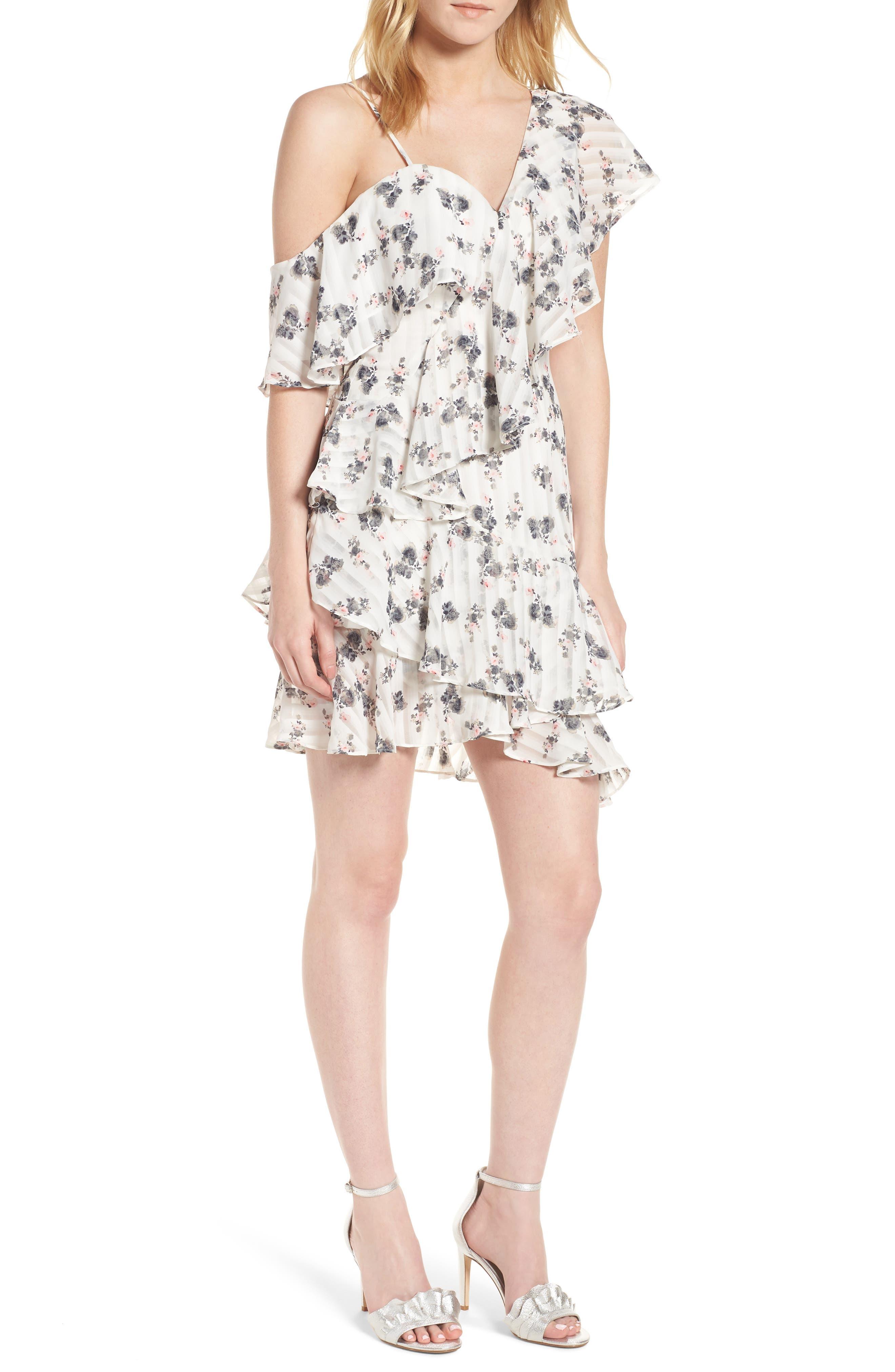 Bloom One-Shoulder Dress,                         Main,                         color, 100