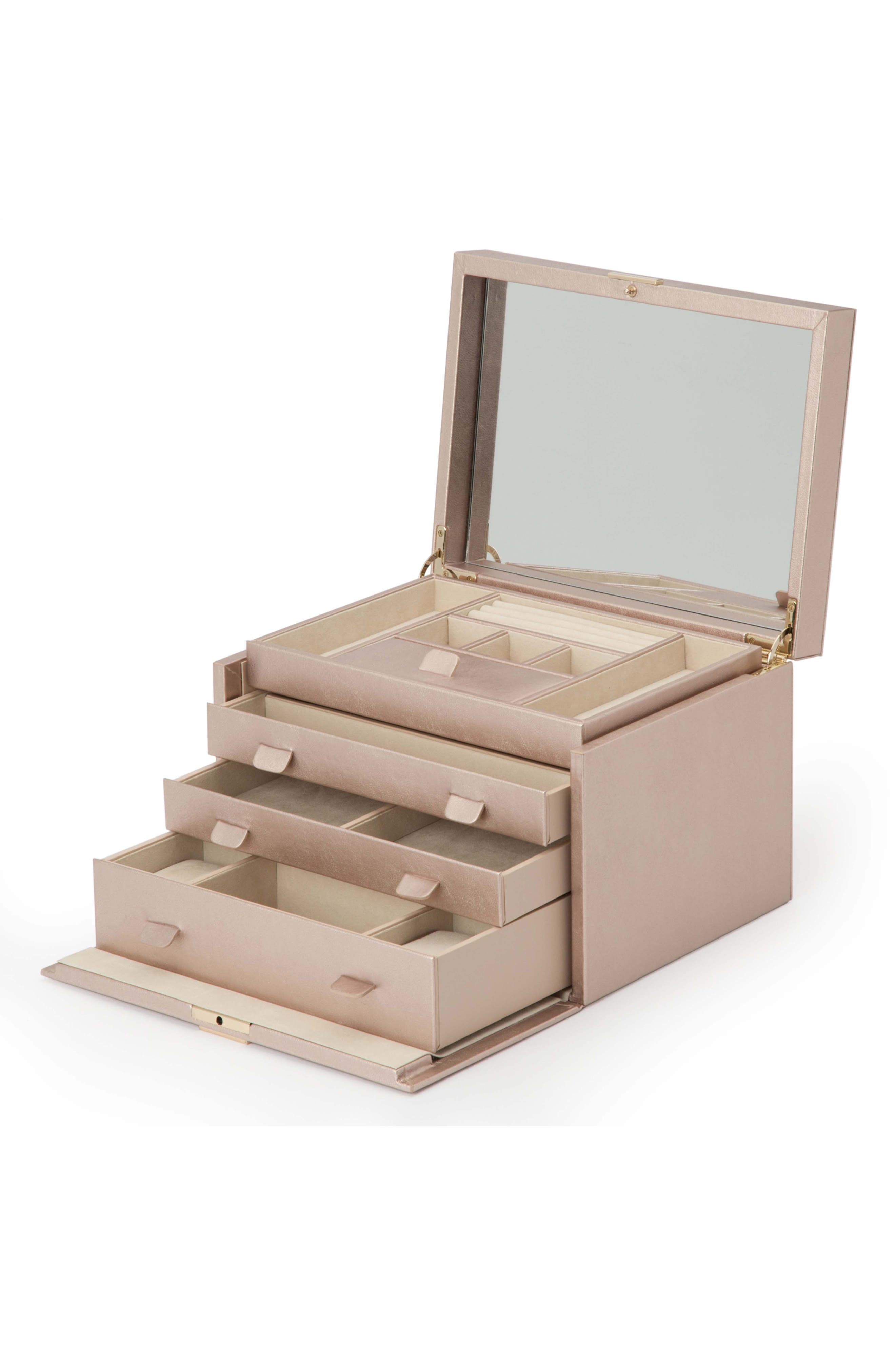 Palermo Large Jewelry Box,                             Alternate thumbnail 3, color,                             ROSE GOLD