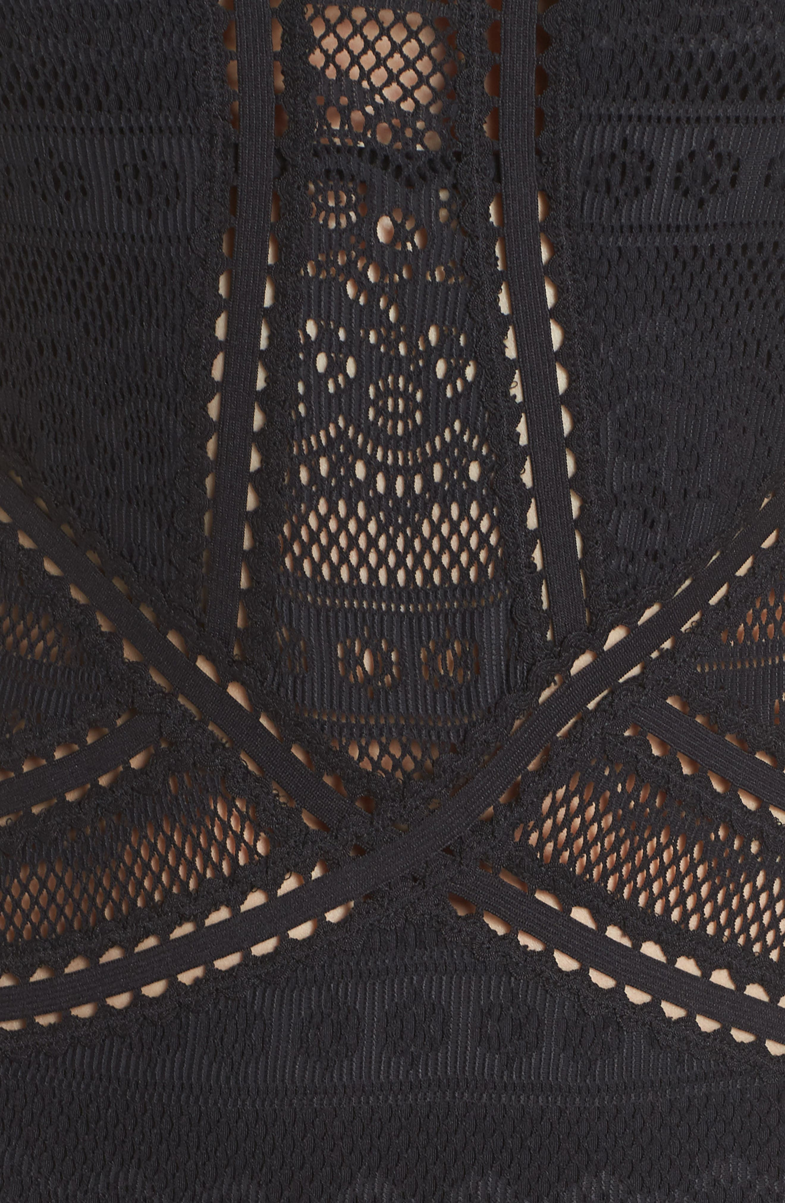 Prairie Rose Crochet One-Piece Swimsuit,                             Alternate thumbnail 5, color,                             BLACK