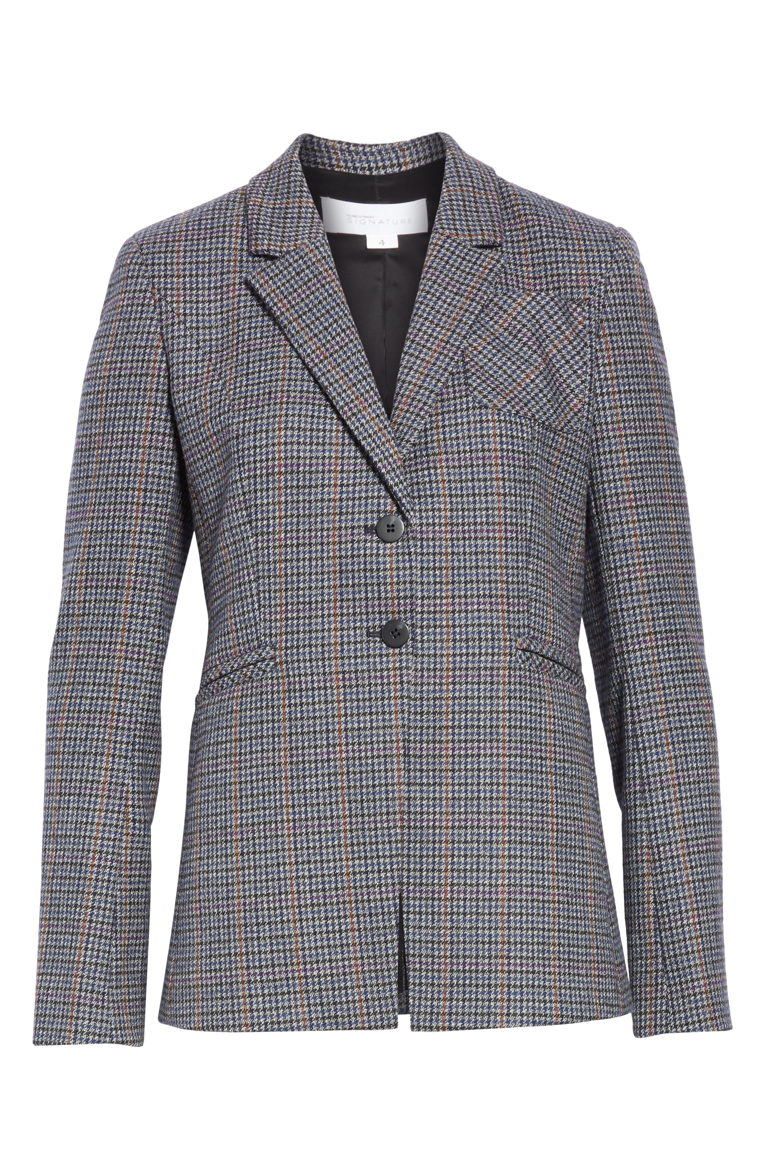 Elbow Patch Plaid Blazer,                             Alternate thumbnail 6, color,                             NAVY NIGHT HOUNDSTOOTH