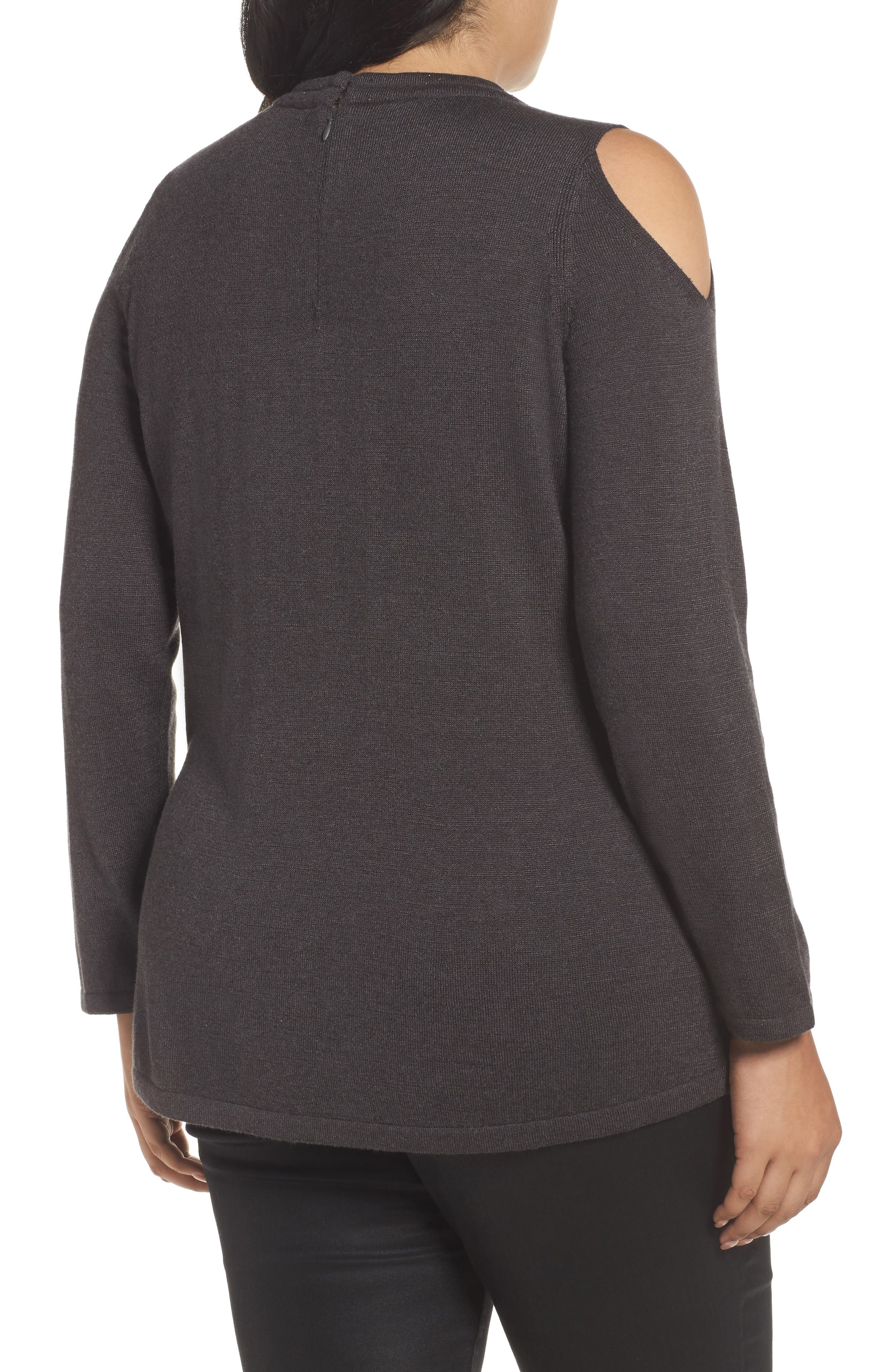 Jeweled Neck Cold Shoulder Sweater,                             Alternate thumbnail 2, color,