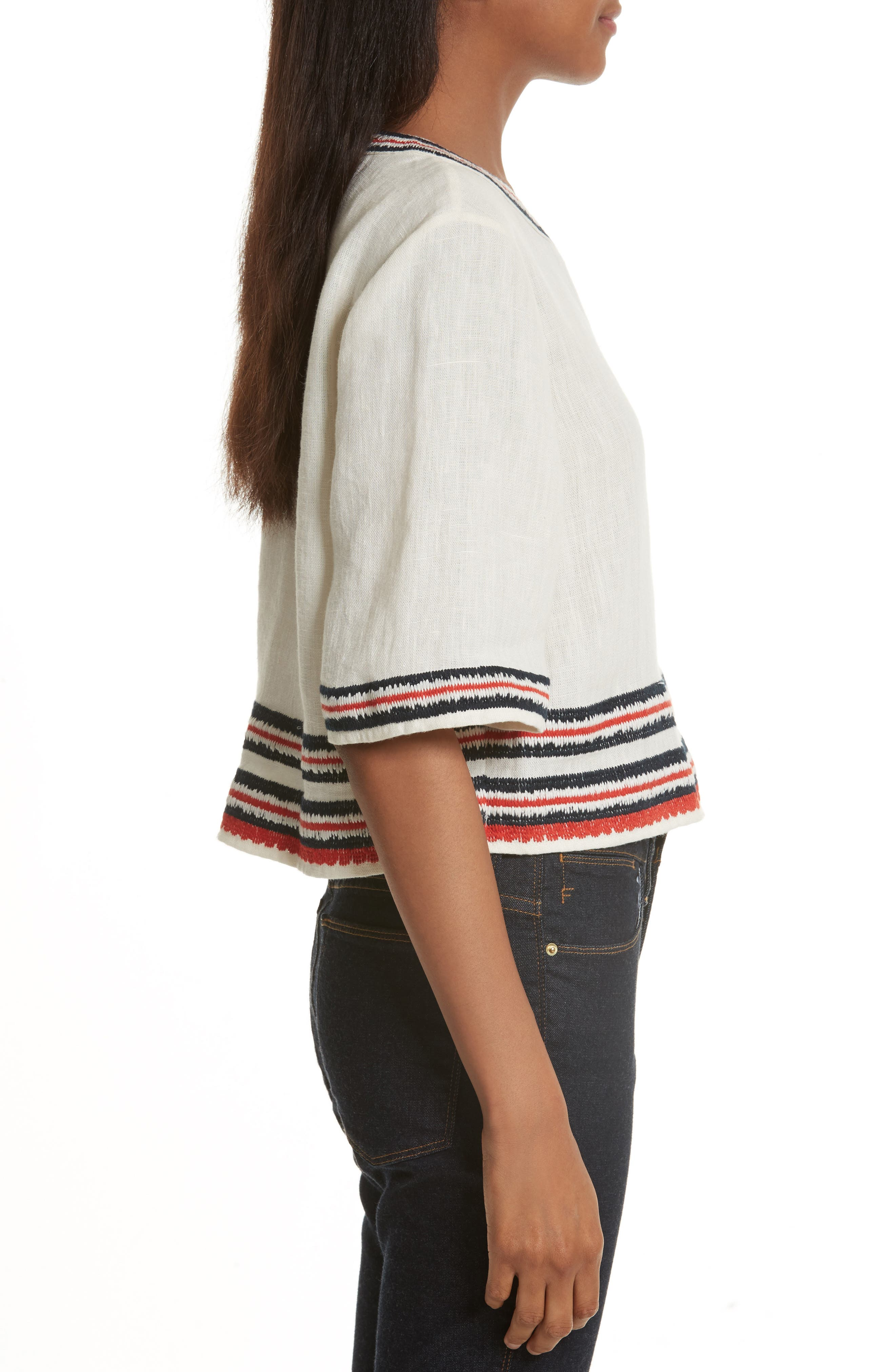 Florentina Embroidered Linen Top,                             Alternate thumbnail 3, color,                             104