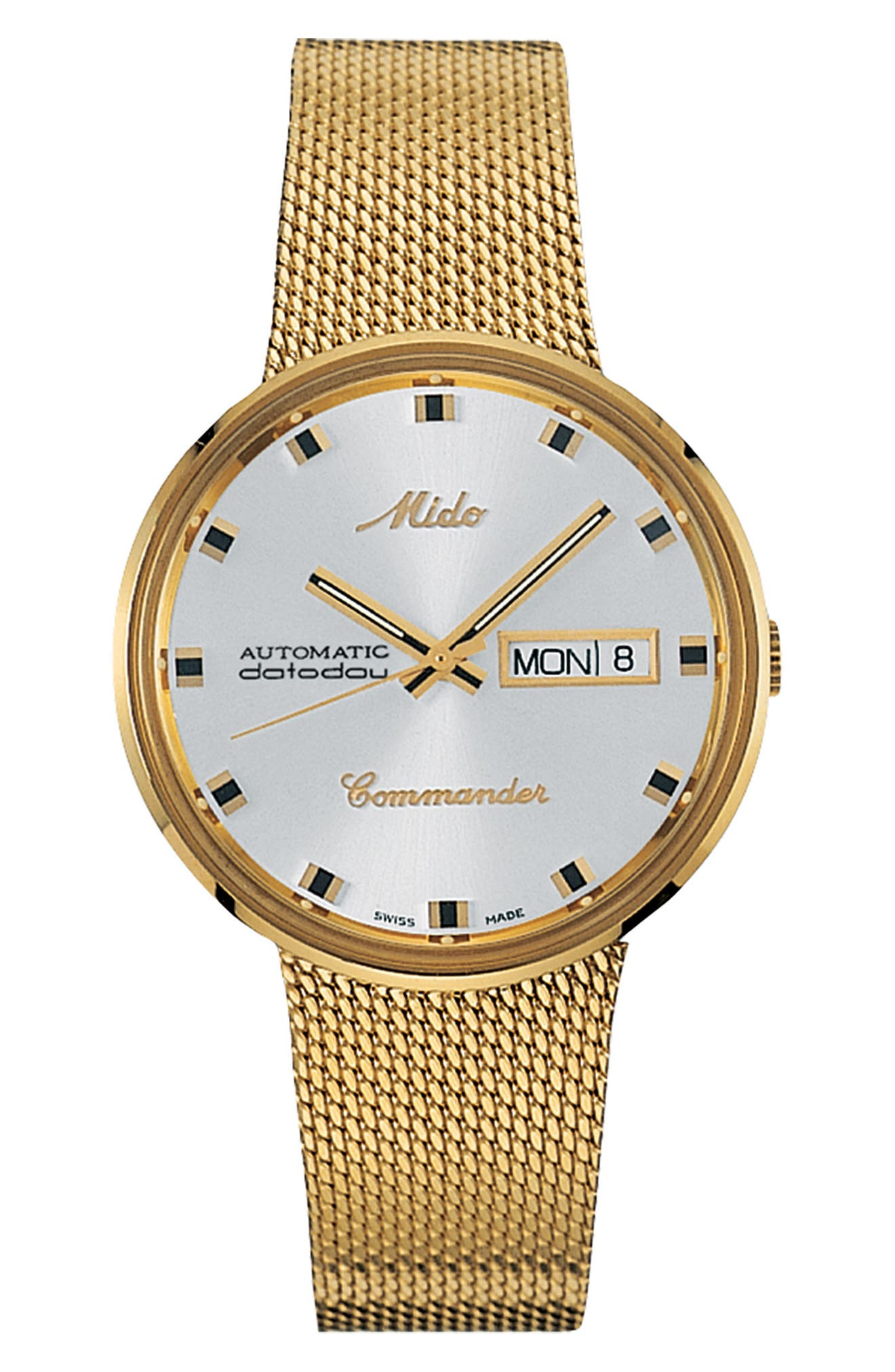 MIDO,                             Commander Automatic Mesh Strap Watch, 37mm,                             Main thumbnail 1, color,                             GOLD/ WHITE/ GOLD
