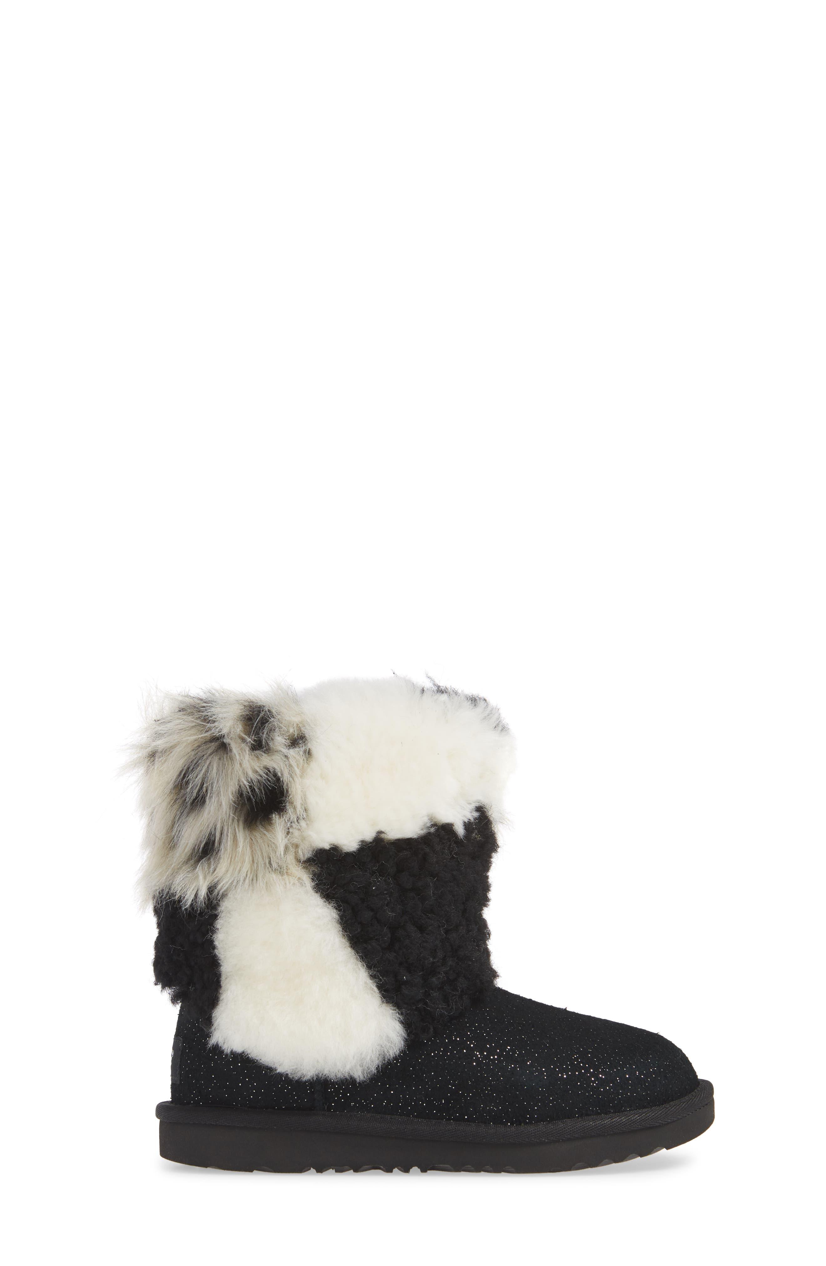 Classic Short Genuine Shearling & Faux Fur Patchwork Boot,                             Alternate thumbnail 3, color,                             001