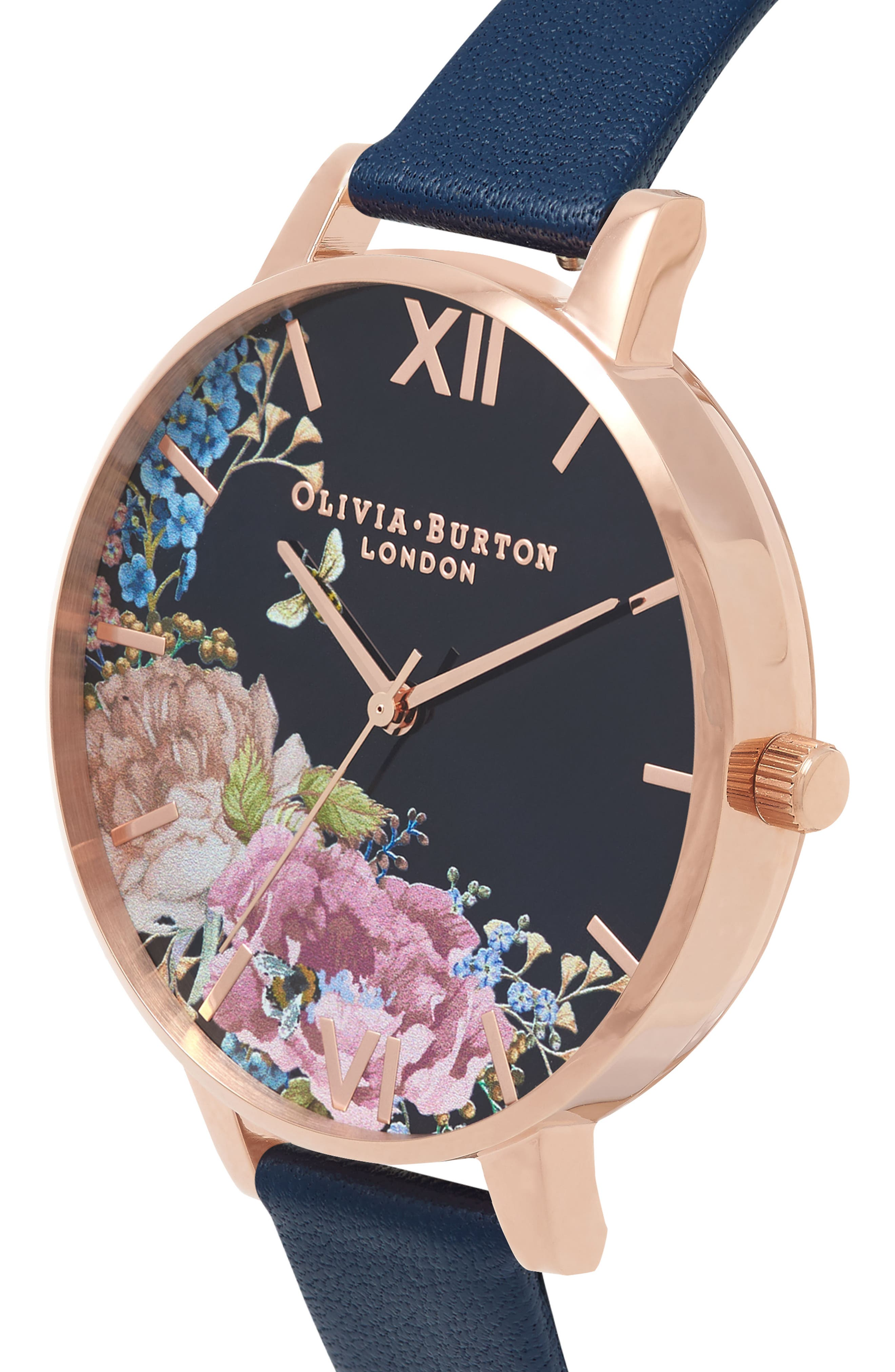 Enchanted Garden Leather Strap Watch, 38mm,                             Alternate thumbnail 3, color,                             NAVY/ FLORAL/ ROSE GOLD