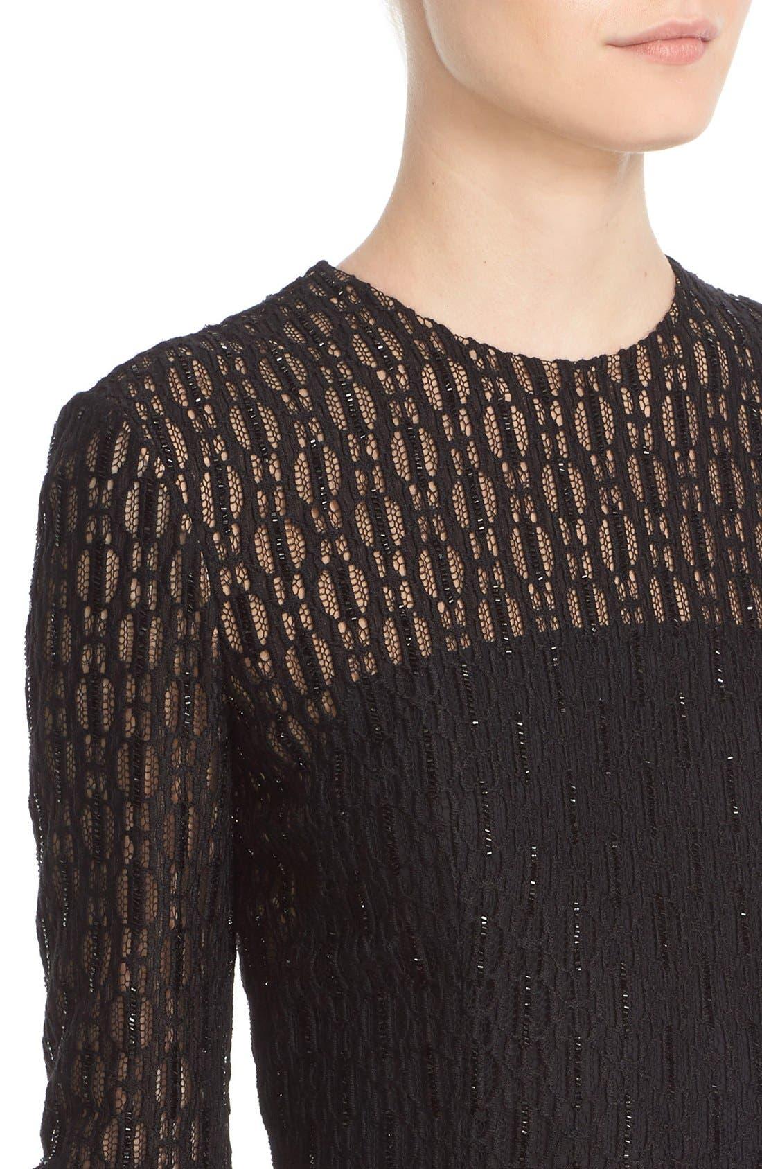 Embellished Illusion Lace Knit Sheath Dress,                             Alternate thumbnail 6, color,                             001