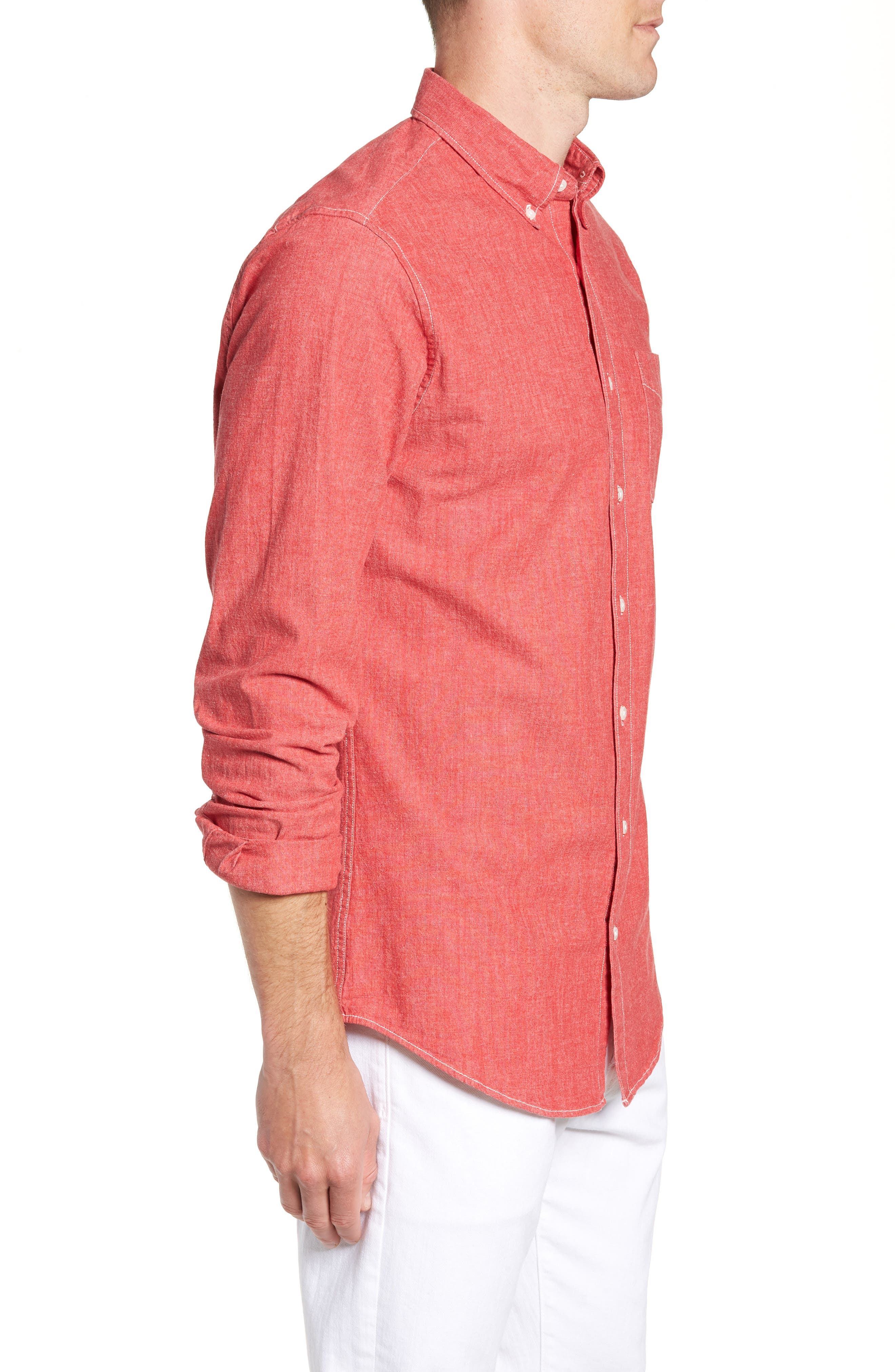 Slim Fit Stretch Chambray Sport Shirt,                             Alternate thumbnail 4, color,