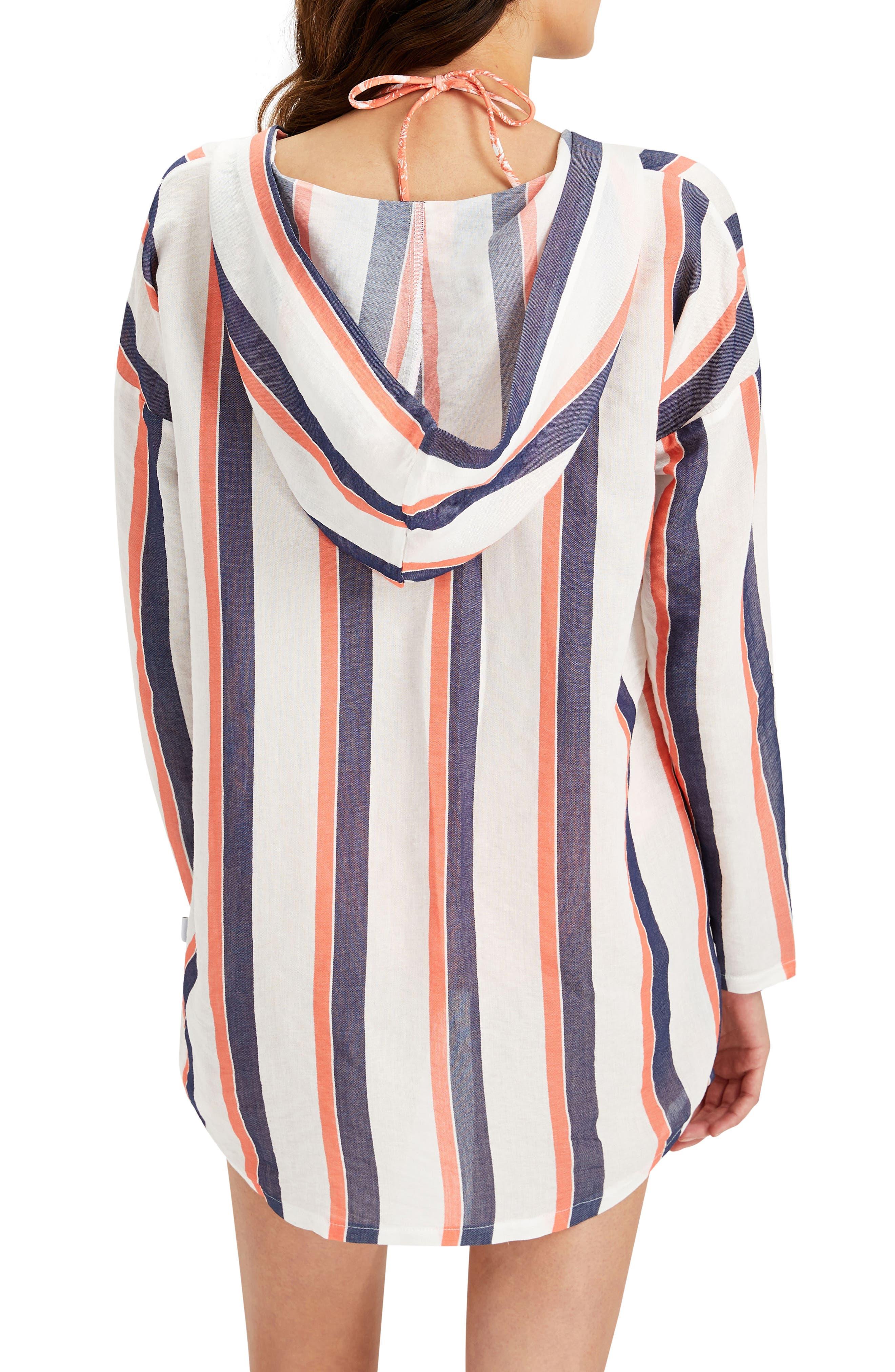 Sophia Stripe Hooded Cover-Up Tunic,                             Alternate thumbnail 3, color,                             822