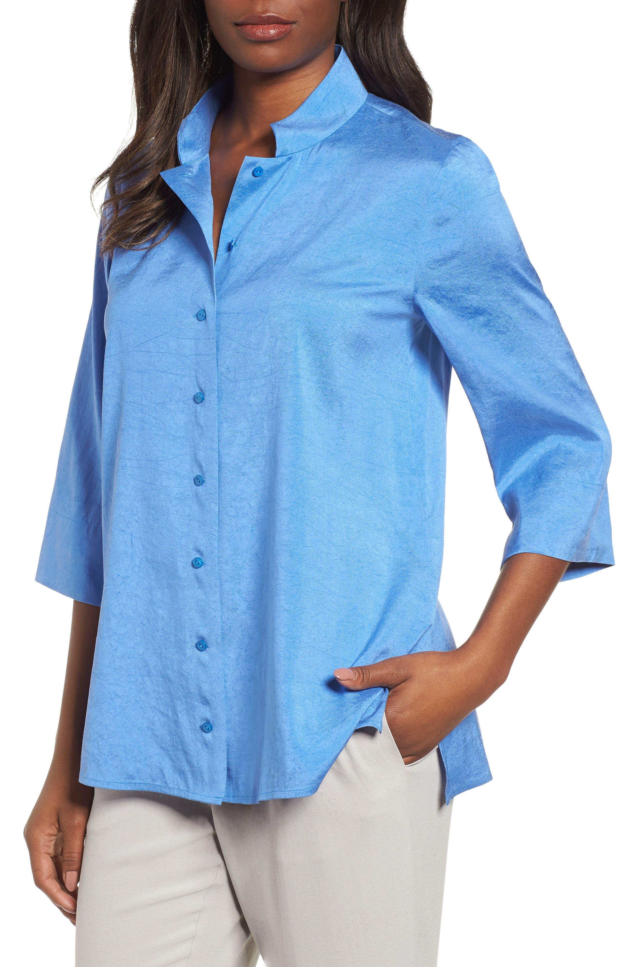 Crinkled Satin Silk Shirt,                             Main thumbnail 1, color,                             405