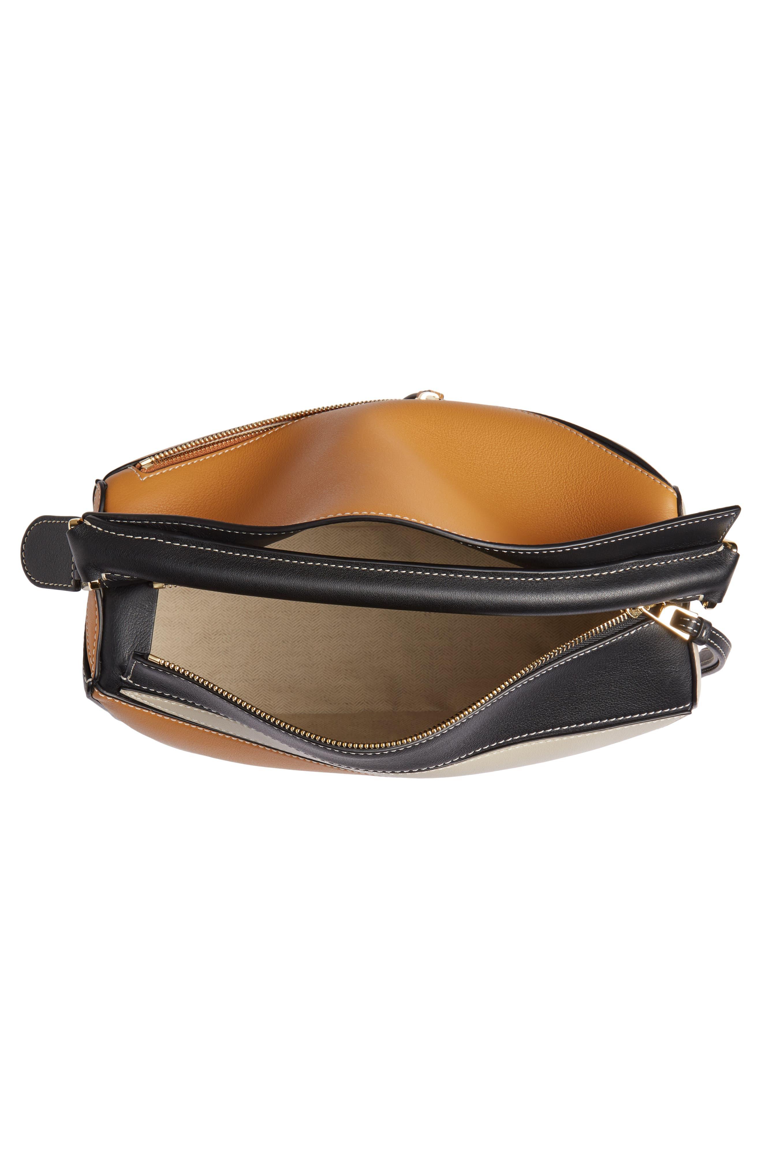 LOEWE,                             Puzzle Calfskin Leather Shoulder Bag,                             Alternate thumbnail 5, color,                             AMBER/ LIGHT OAT