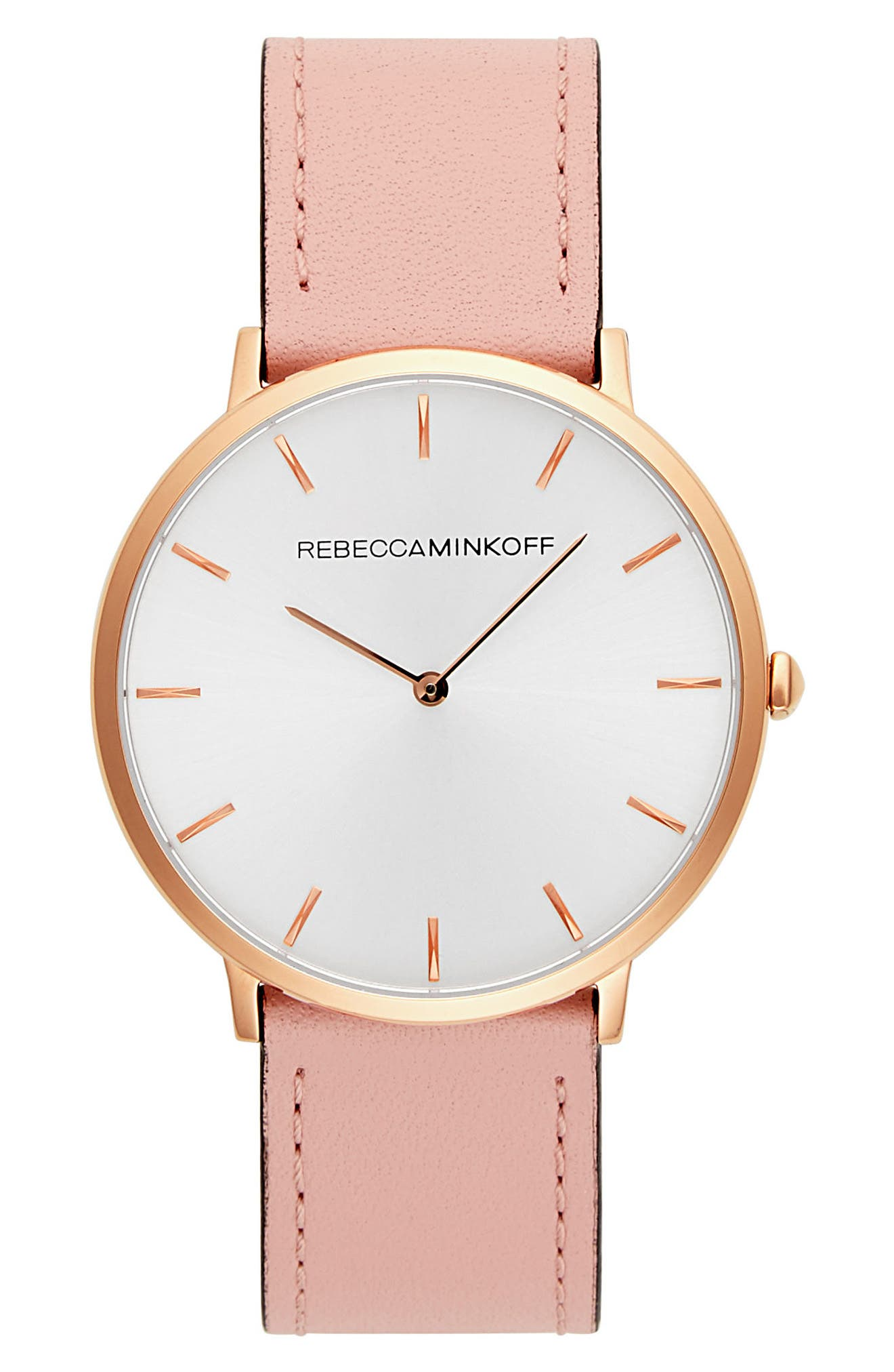 Major Leather Strap Watch, 40mm,                             Main thumbnail 1, color,                             BLUSH/ SILVER/ GOLD