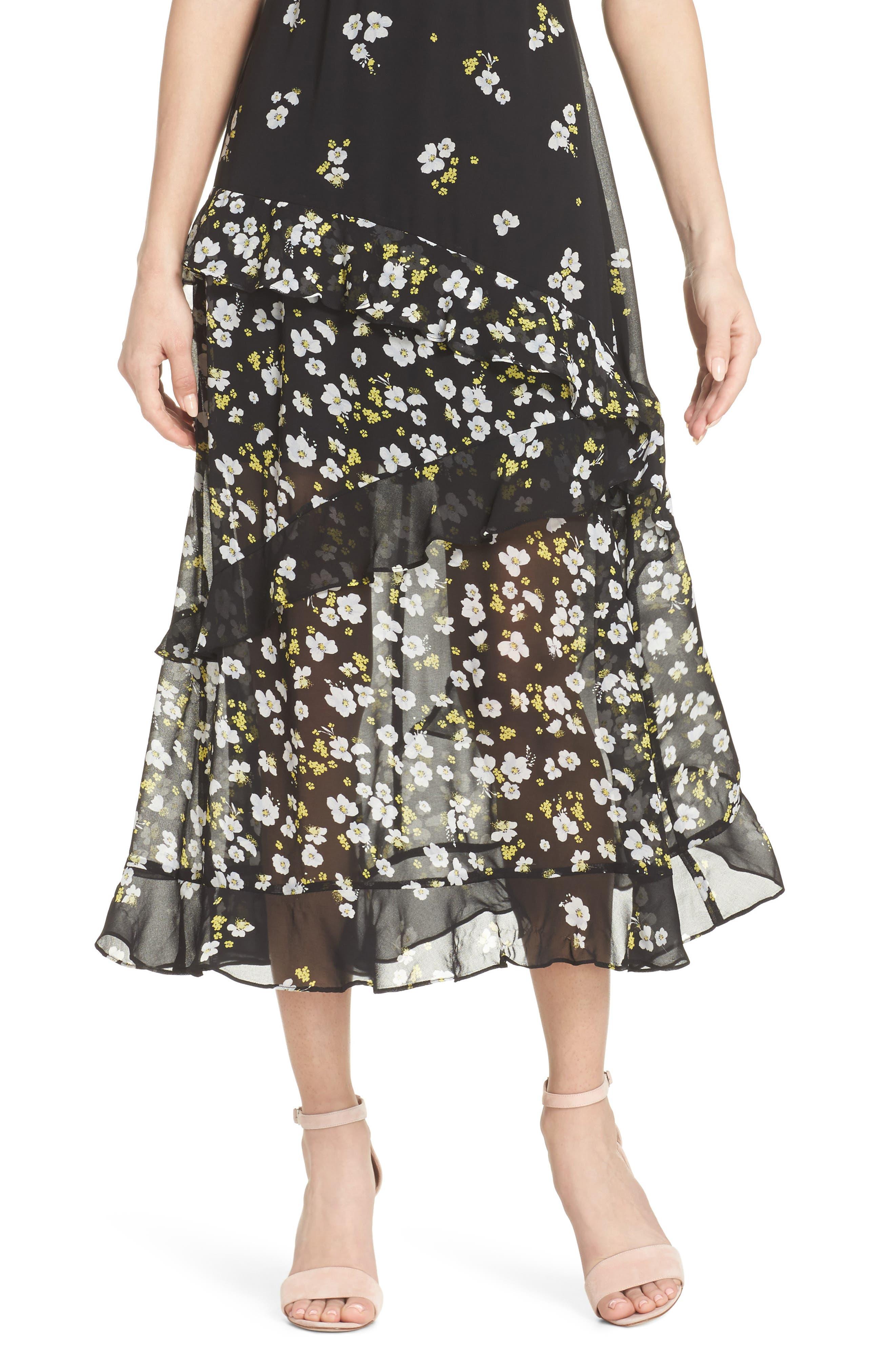 Ditzy Floral & Ruffle Chiffon Dress,                             Alternate thumbnail 4, color,                             001