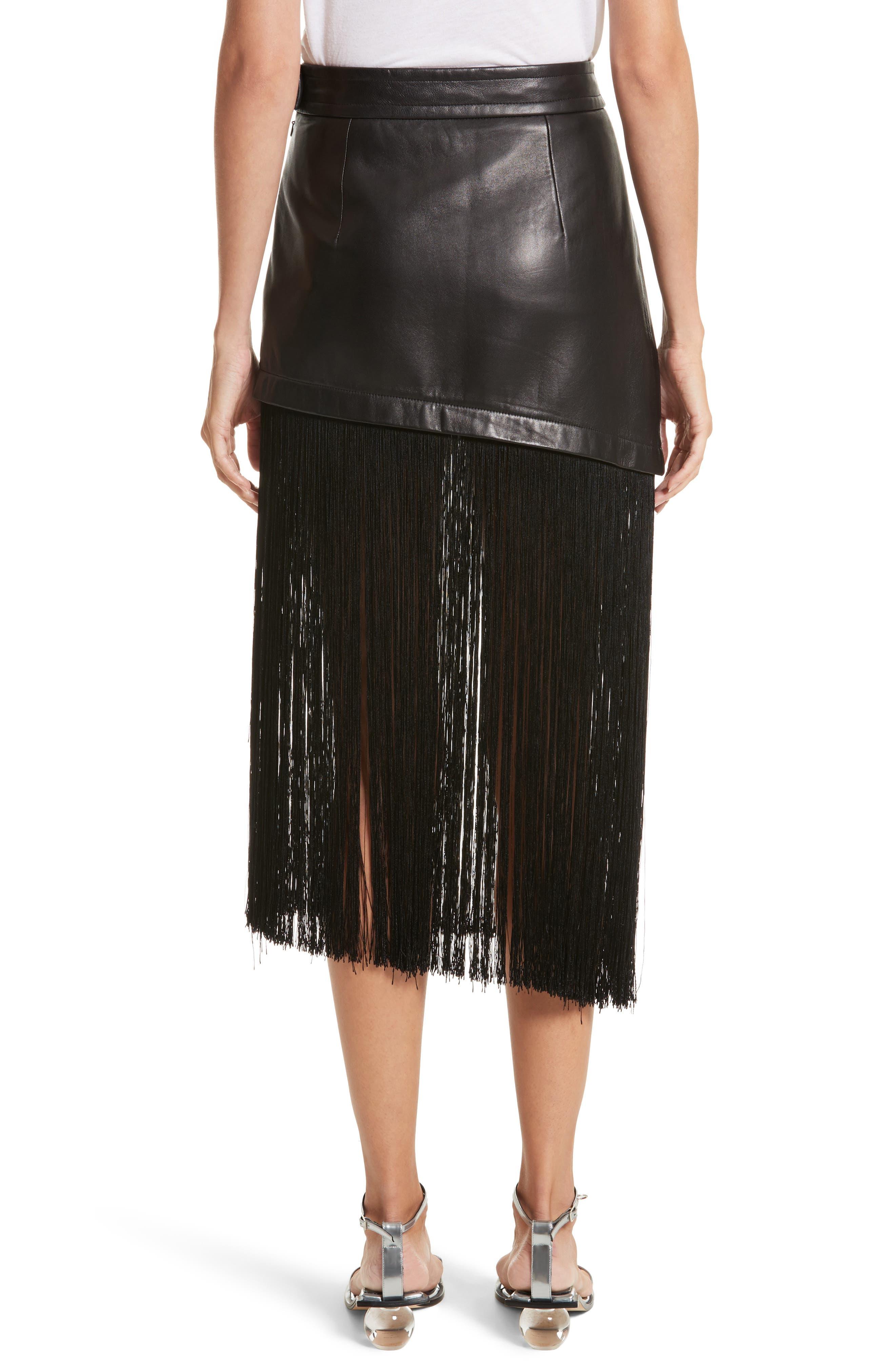Fringe Hem Leather Miniskirt,                             Alternate thumbnail 2, color,