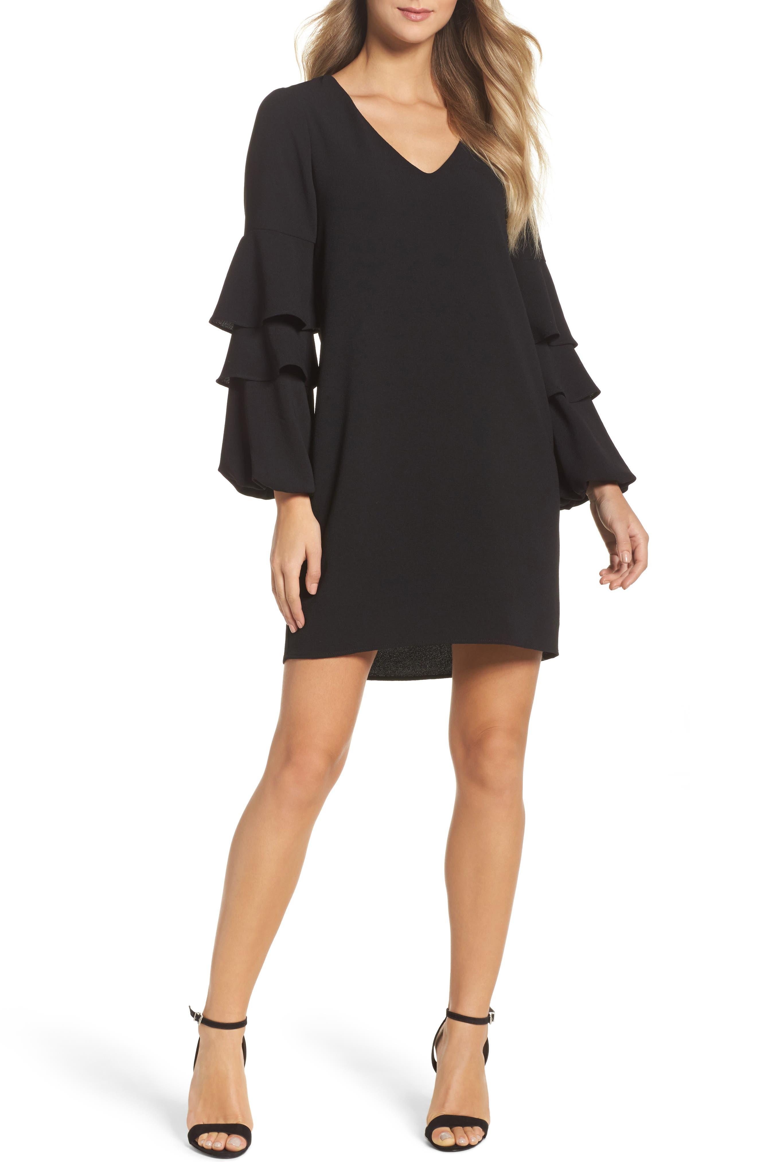 Tiered Ruffle Sleeve Dress,                         Main,                         color, BLACK