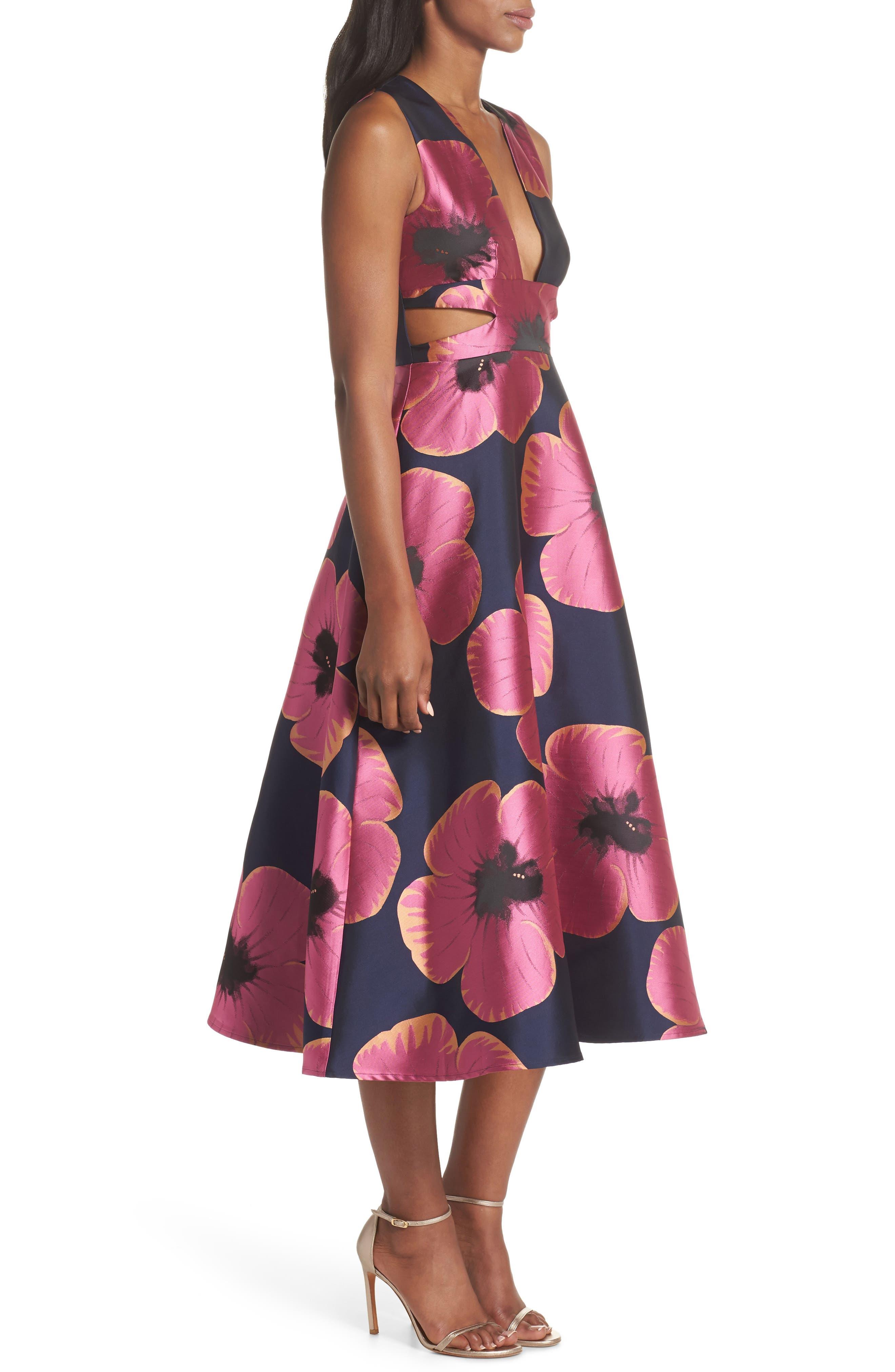 Serena Jacquard Midi Dress,                             Alternate thumbnail 3, color,                             464