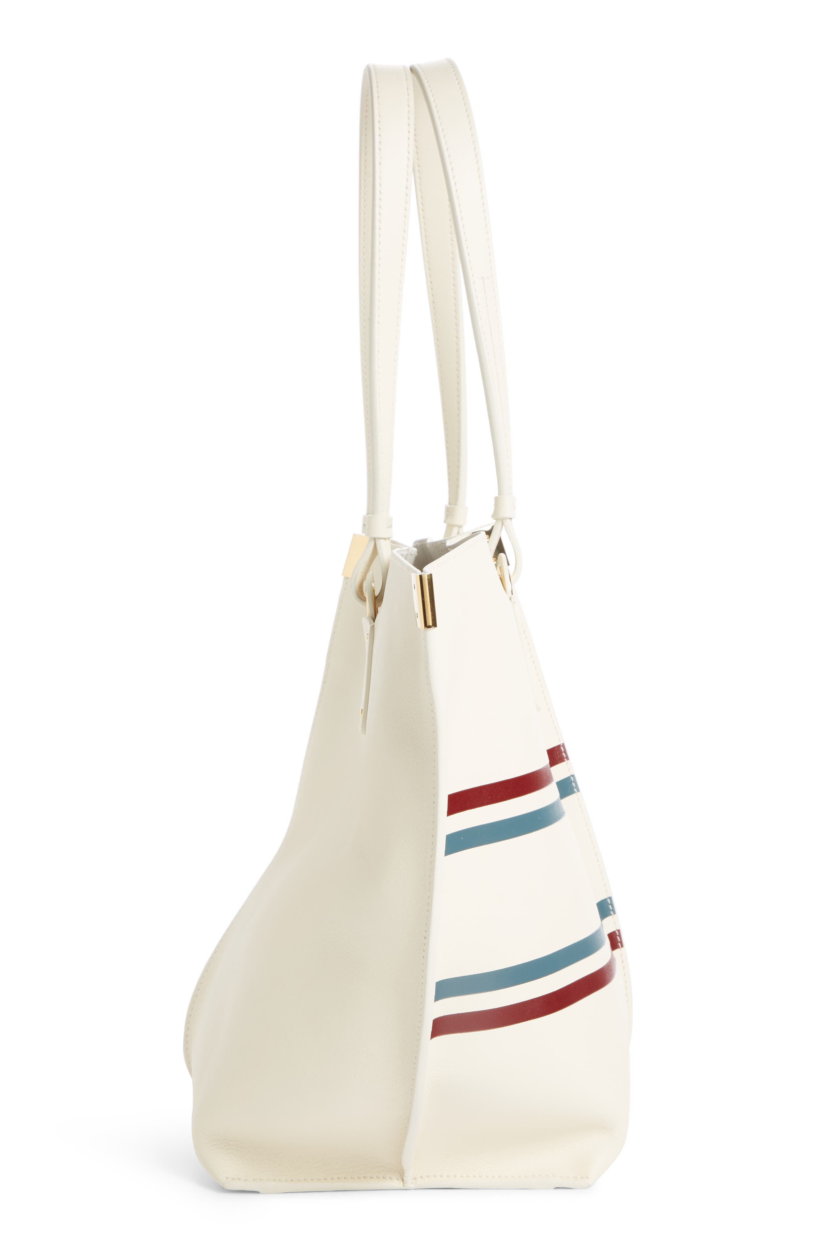 Vick Logo Embossed Leather Tote,                             Alternate thumbnail 4, color,                             OFF WHITE