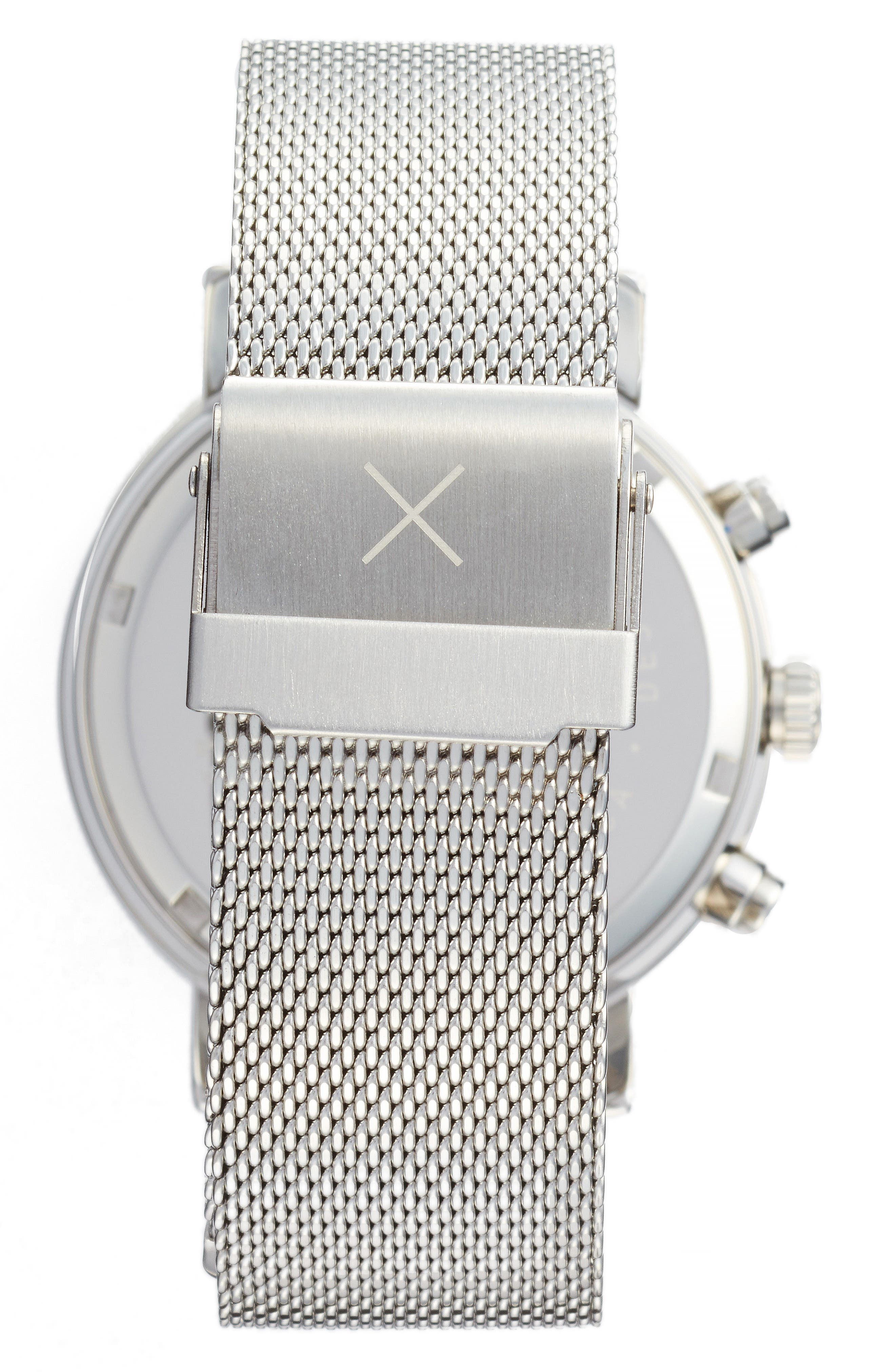 THRONE,                             2.0 Chronograph Mesh Strap Watch, 40mm,                             Alternate thumbnail 2, color,                             SILVER/ BLACK