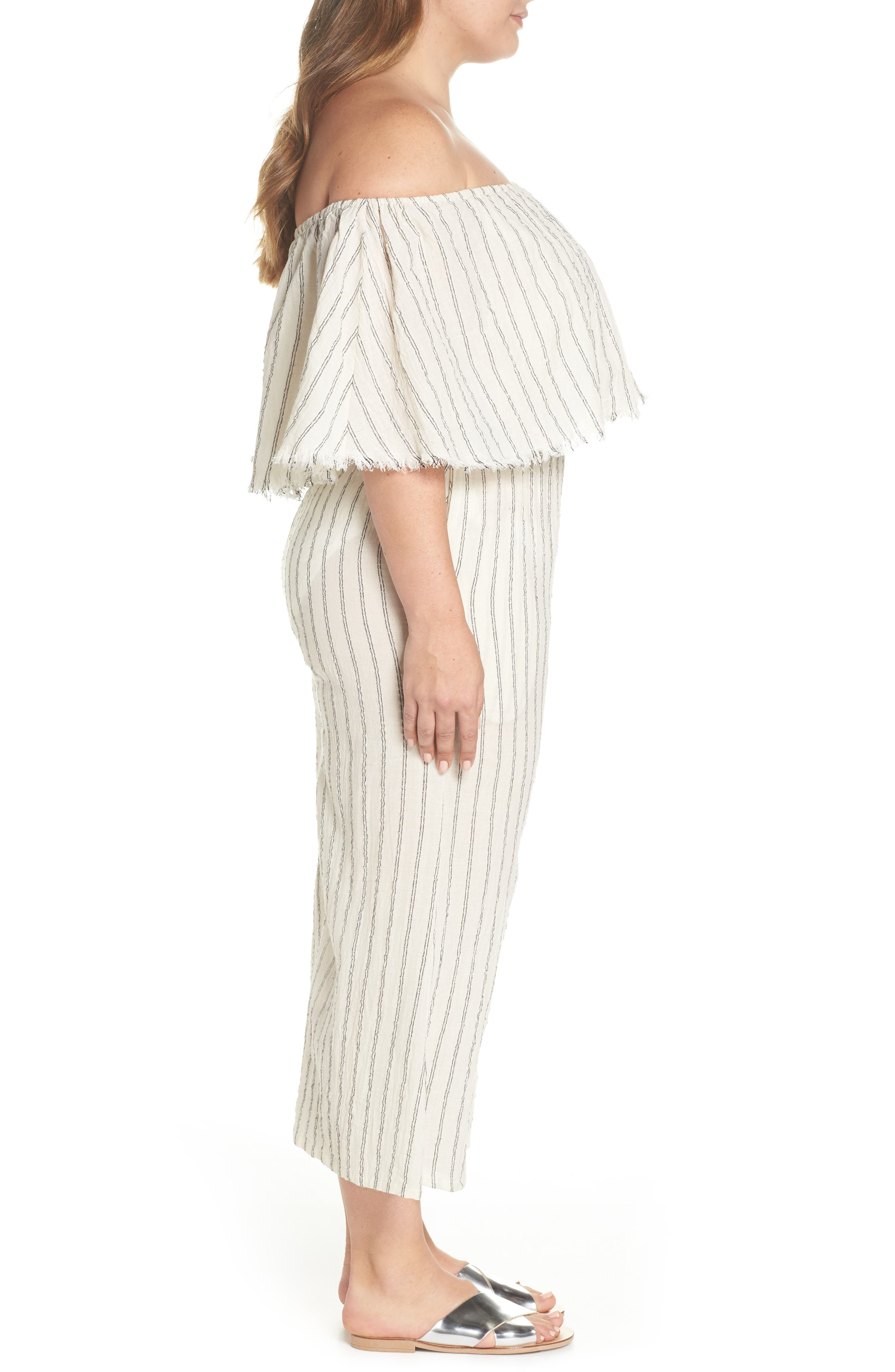 Ruffle Coulotte Cover-Up Jumpsuit,                             Alternate thumbnail 3, color,                             900
