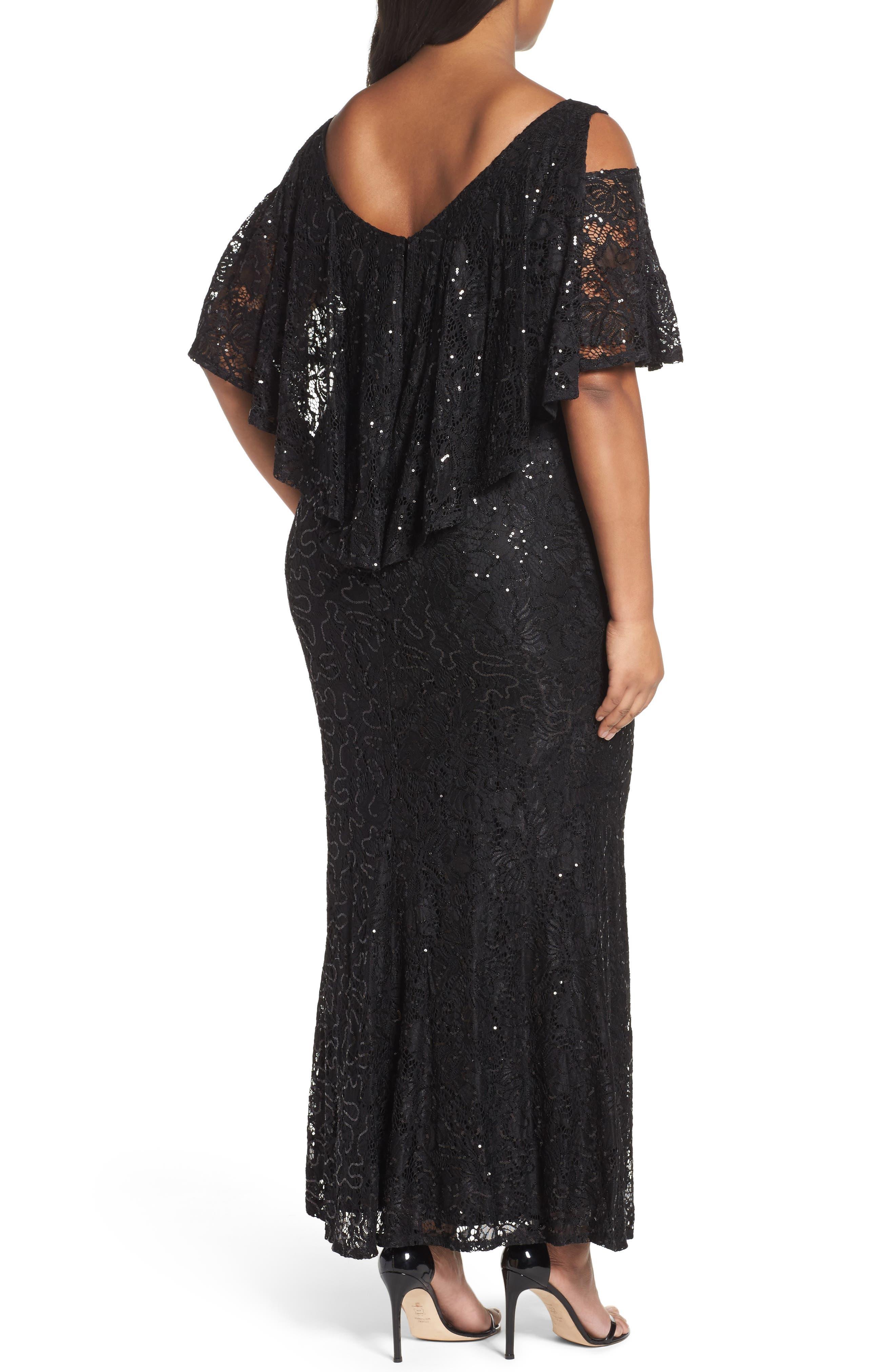 Sequin Lace Cold Shoulder Long Dress,                             Alternate thumbnail 4, color,