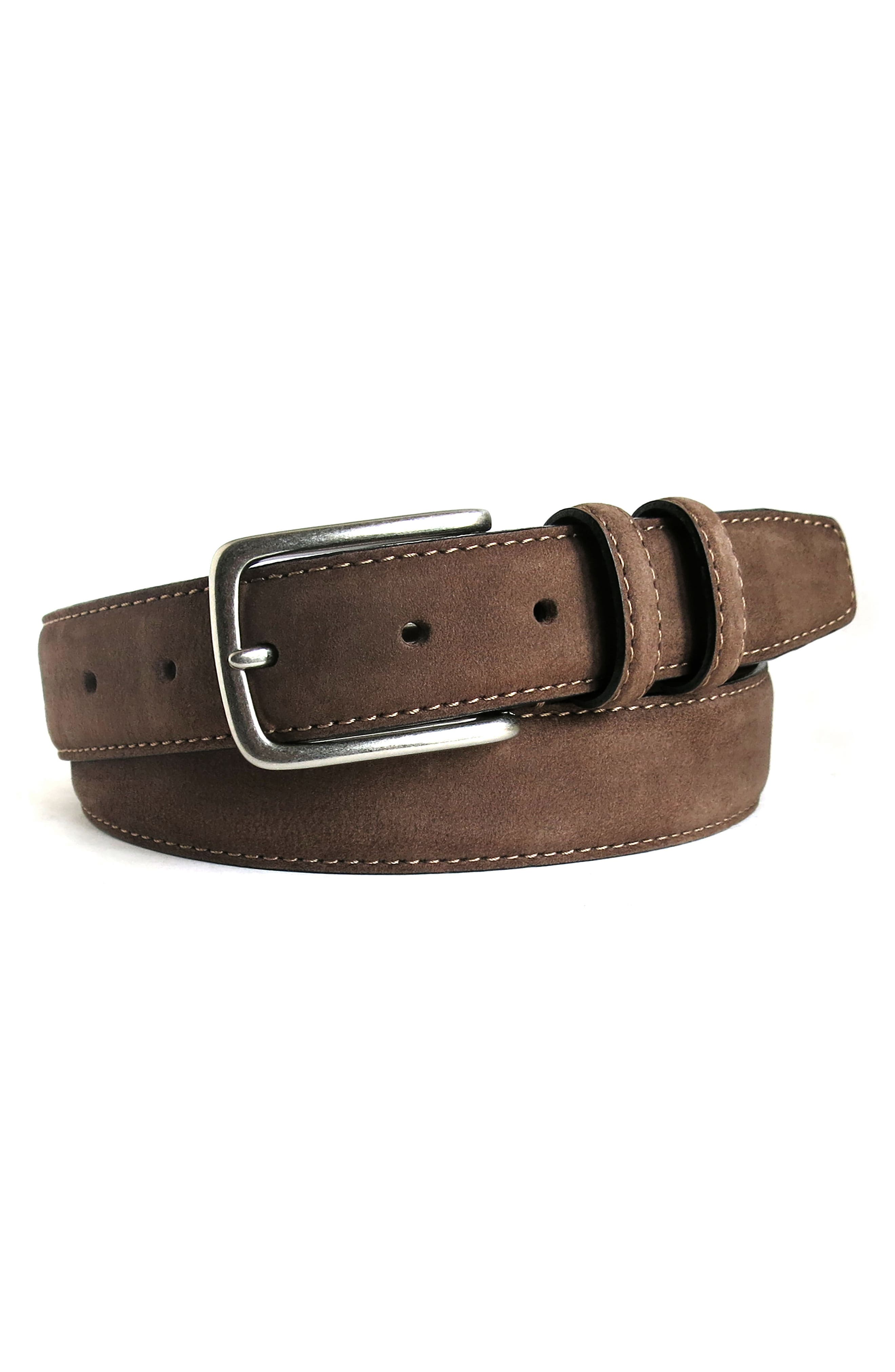 'Tyler' Double Stitched Suede Belt,                             Alternate thumbnail 3, color,                             BROWN