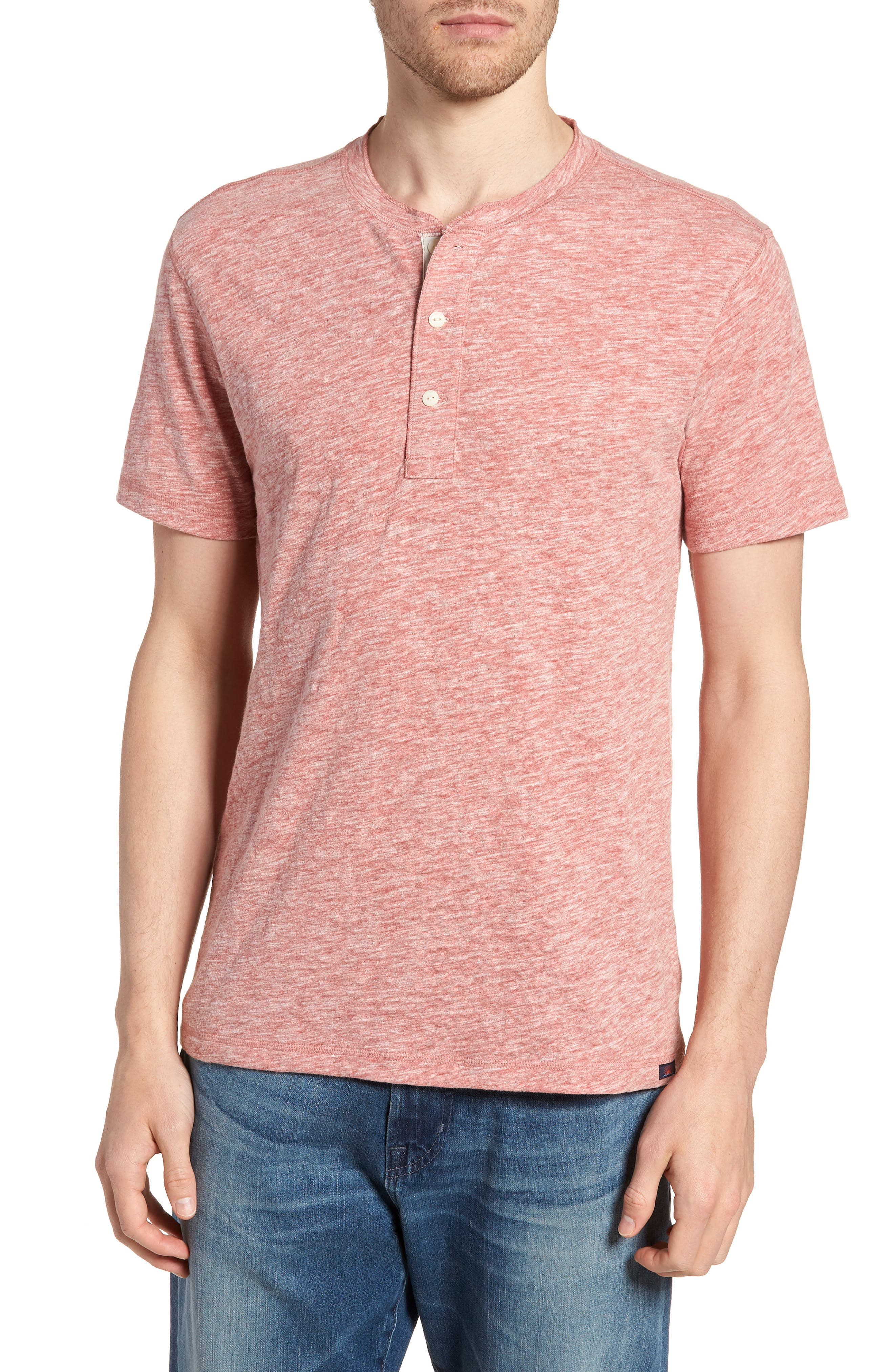 Faherty Short Sleeve Heathered Henley, Red