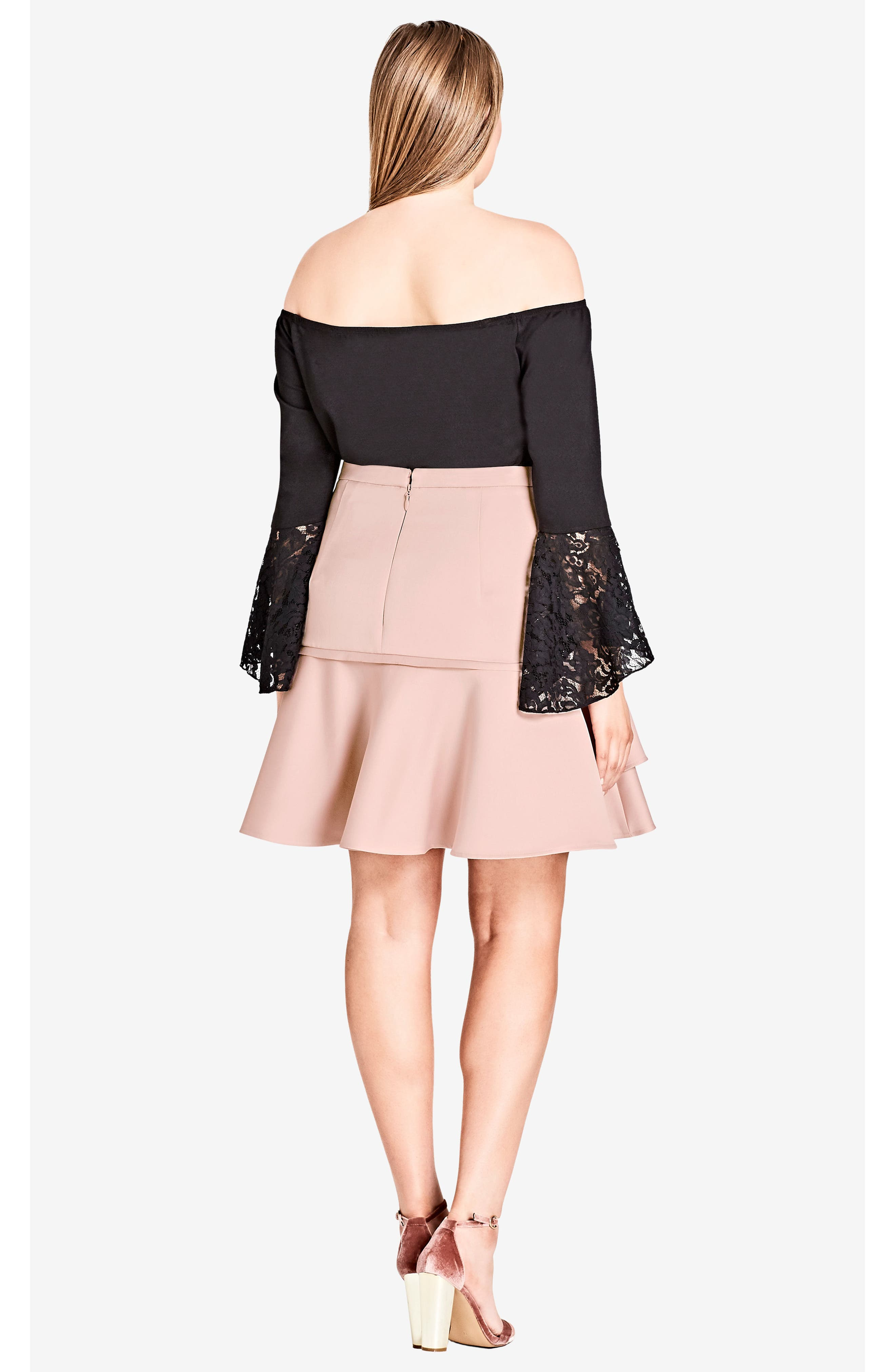 Lace Bell Sleeve Off the Shoulder Top,                             Alternate thumbnail 5, color,                             001