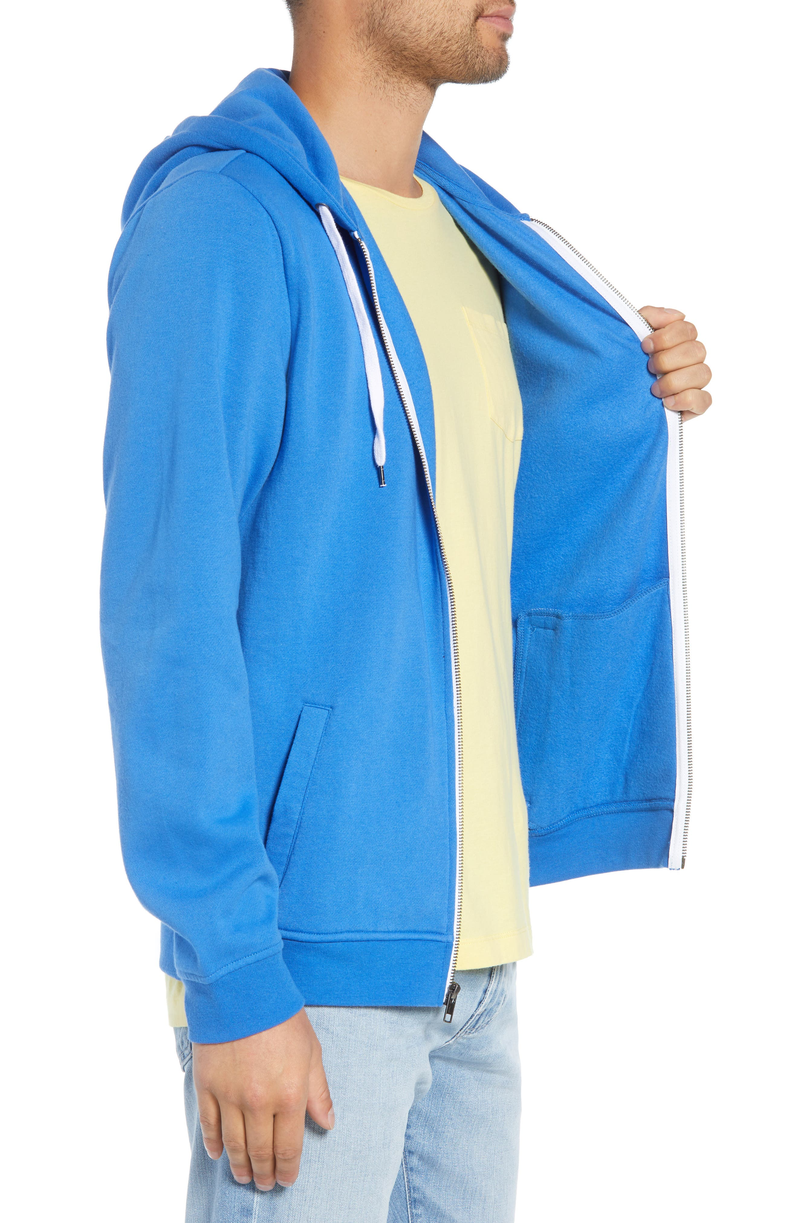 Full Zip Hoodie,                             Alternate thumbnail 3, color,                             BLUE BLISS