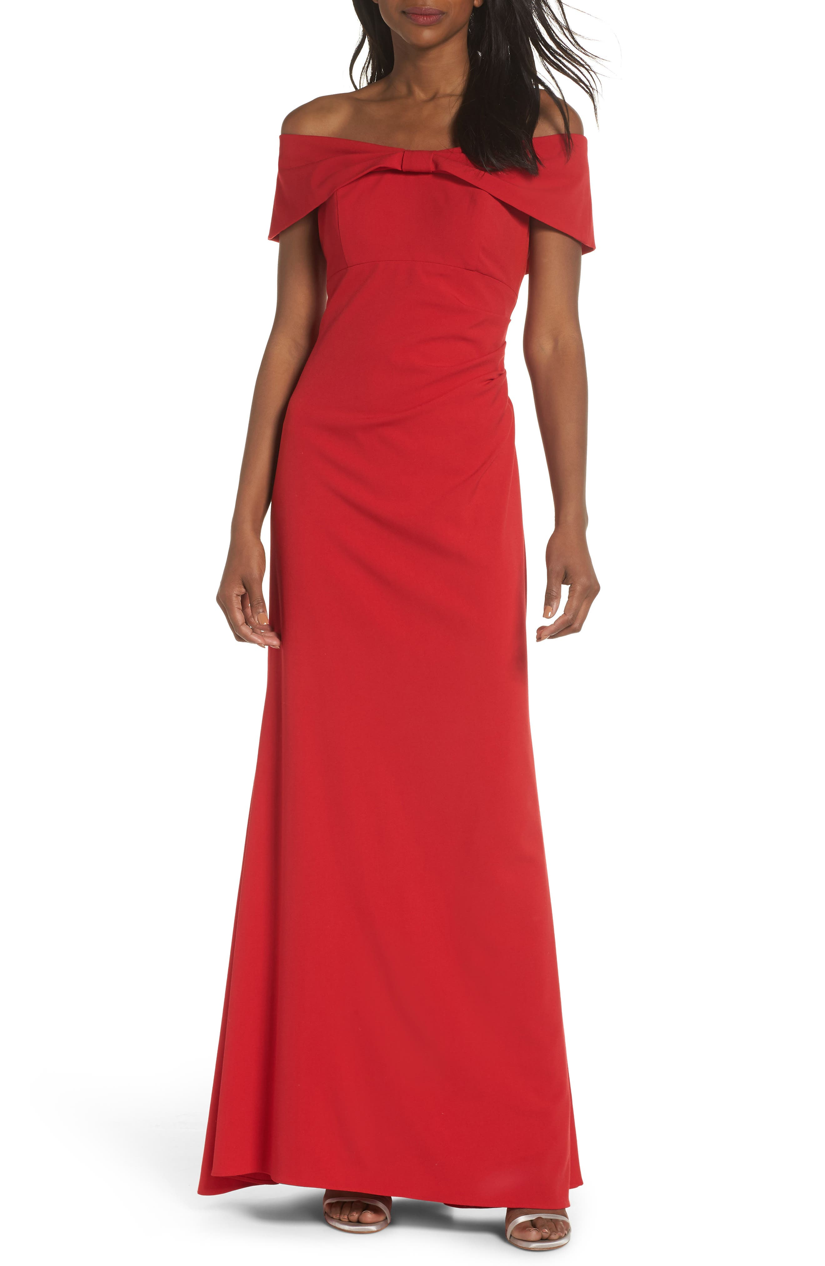 Knot Front Off the Shoulder Gown,                             Main thumbnail 1, color,                             RED