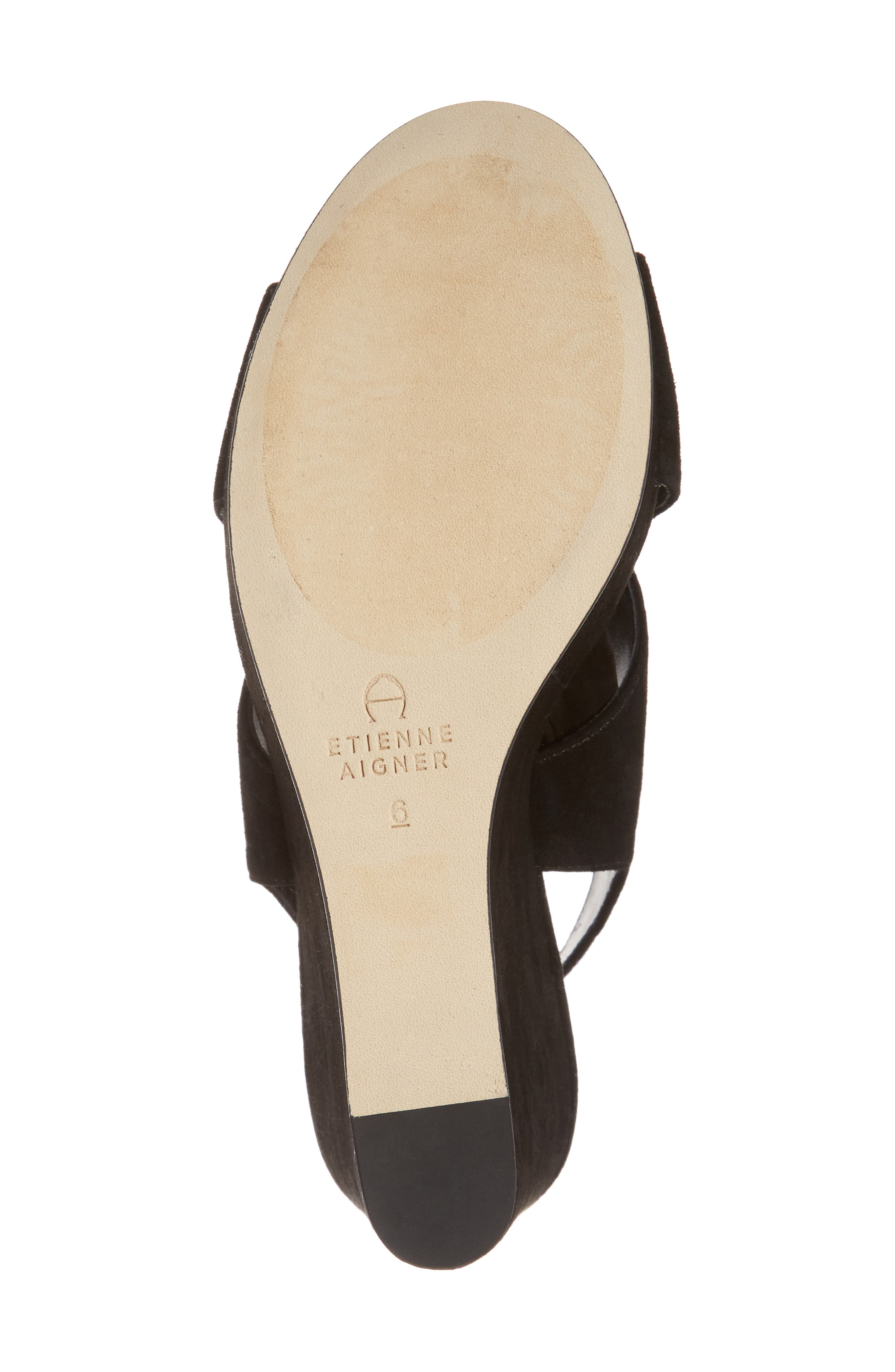 Dominica Platform Wedge Sandal,                             Alternate thumbnail 6, color,                             BLACK SUEDE