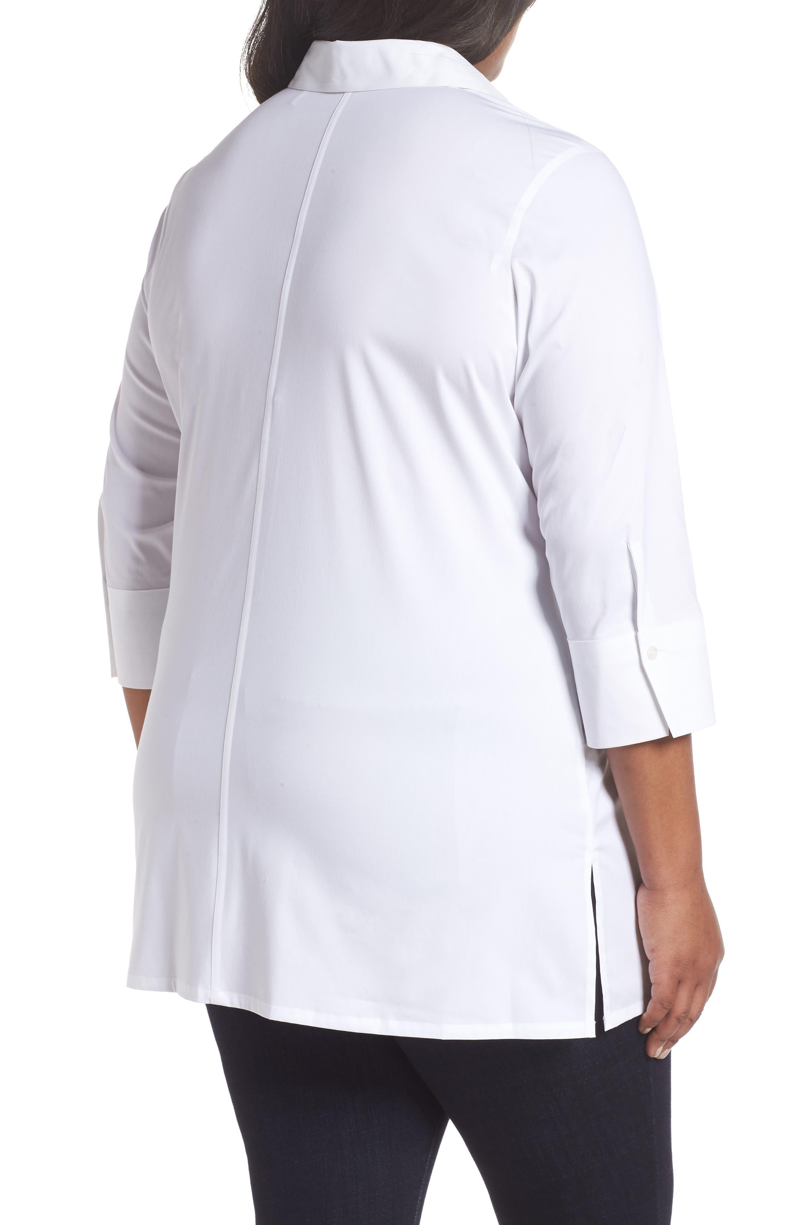 Michaela Solid Tie Front Shirt,                             Alternate thumbnail 2, color,                             WHITE