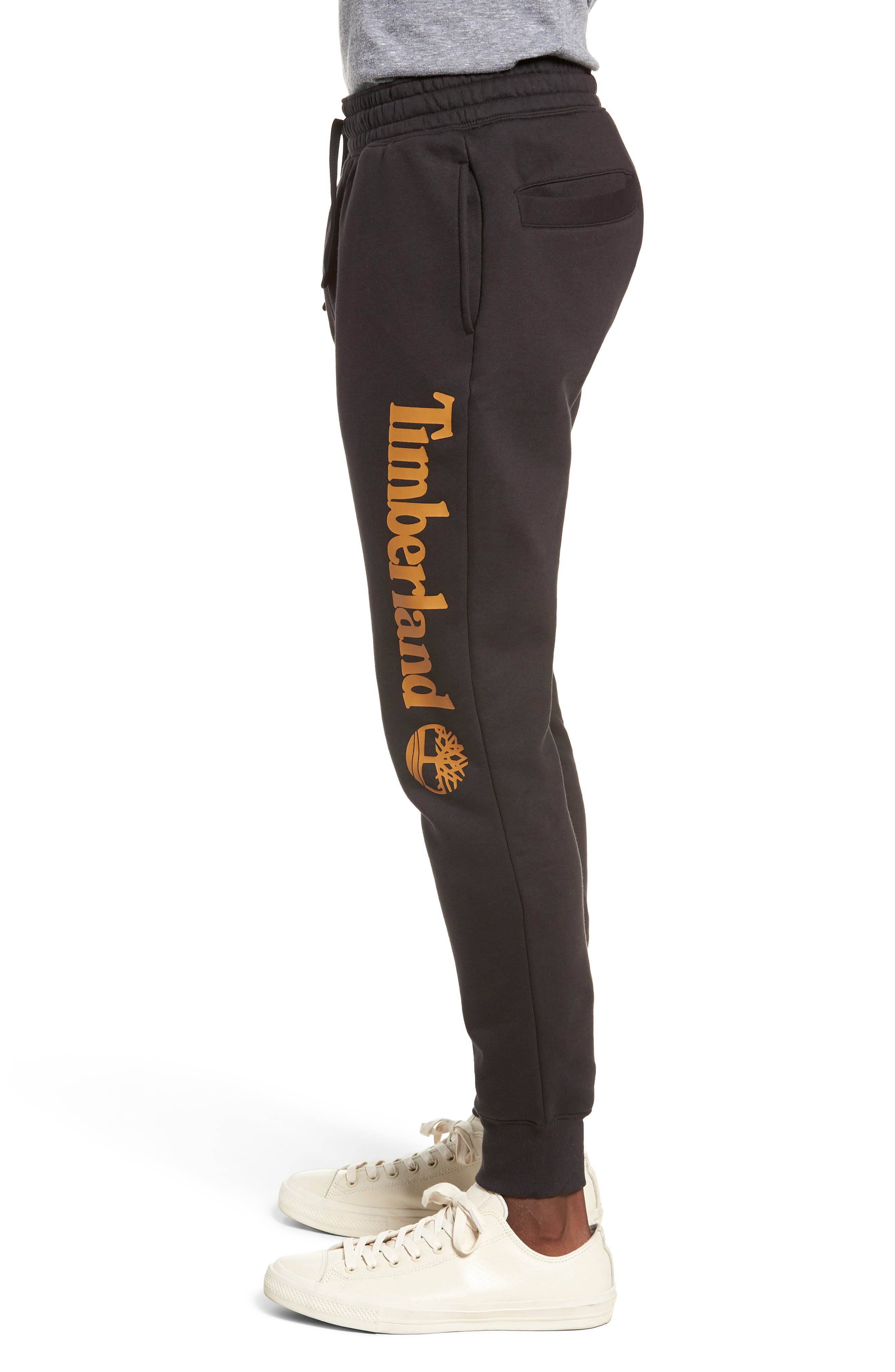 Slim Fit Logo Sweatpants,                             Alternate thumbnail 3, color,                             BLACK