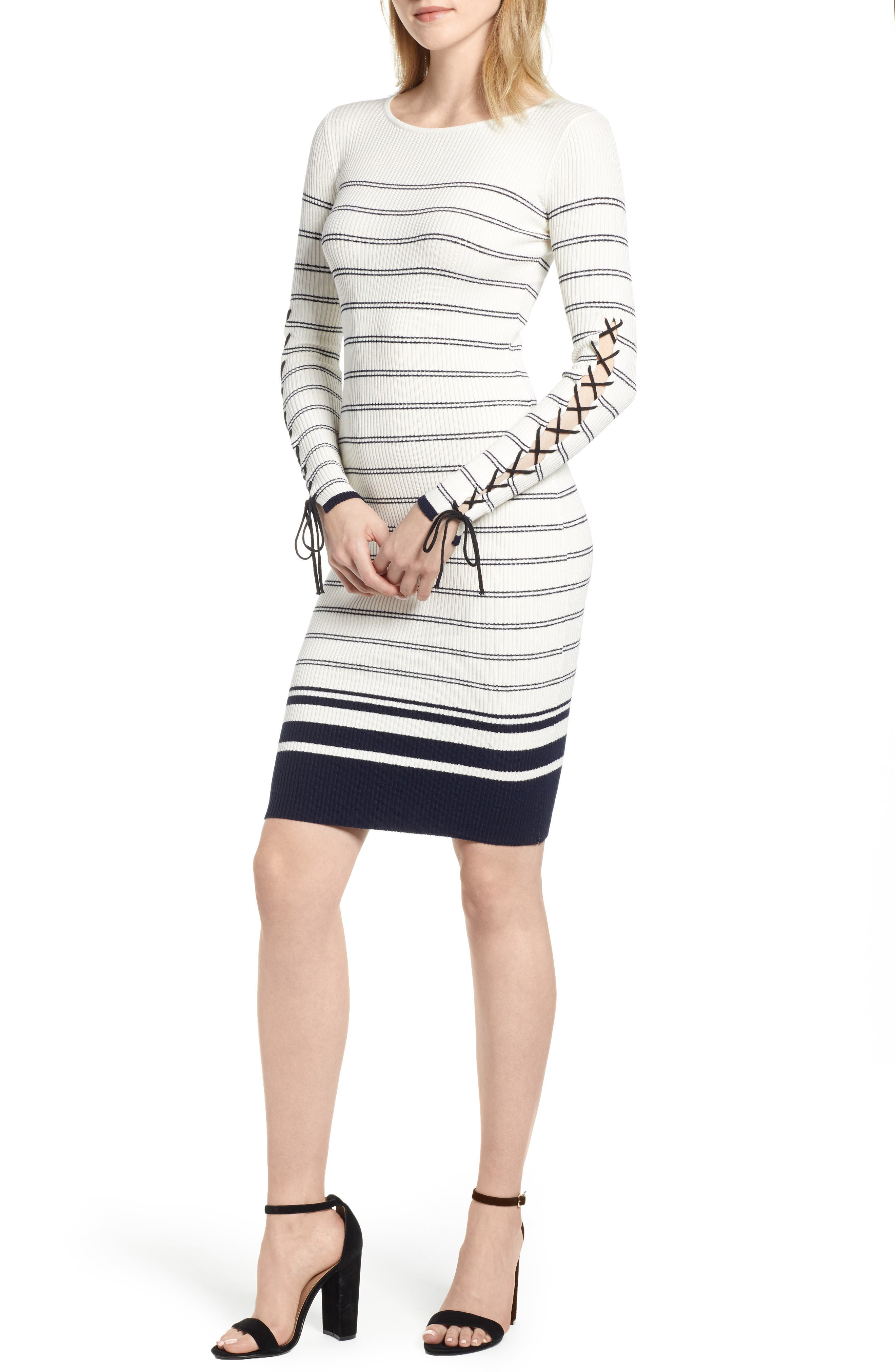 Bishop + Young Marissa Stripe Lace-Up Sleeve Sweater Dress, White