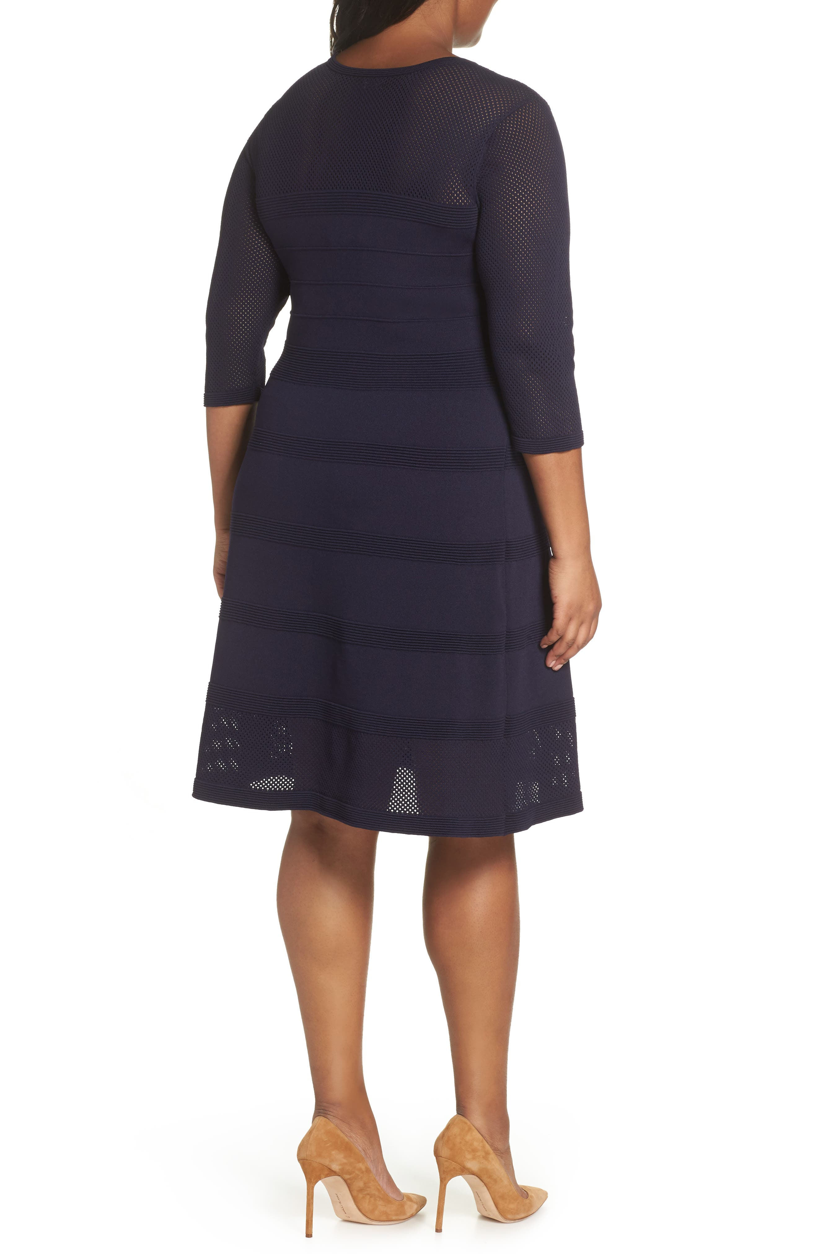 Mixed Stitch Pointelle Fit & Flare Dress,                             Alternate thumbnail 2, color,                             NAVY