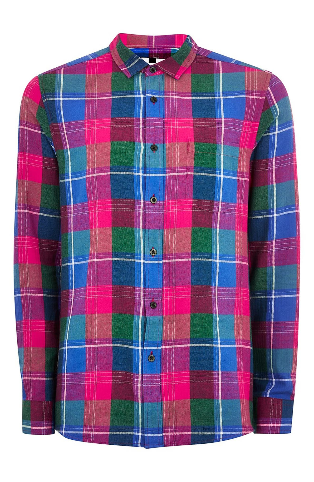 Checked Classic Fit Shirt,                             Alternate thumbnail 4, color,                             PINK MULTI