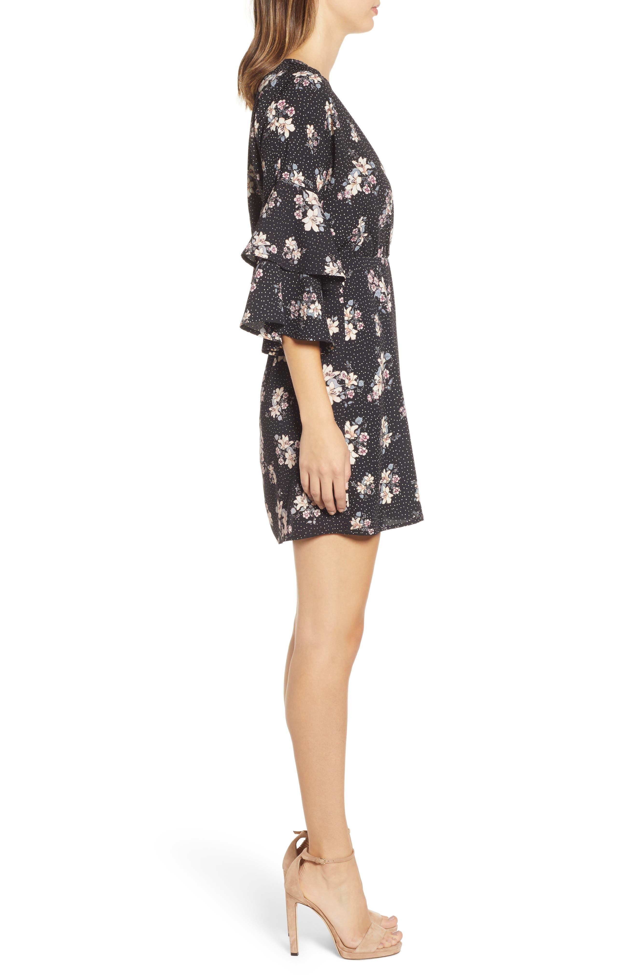Printed Ruffle Sleeve Minidress,                             Alternate thumbnail 3, color,                             001