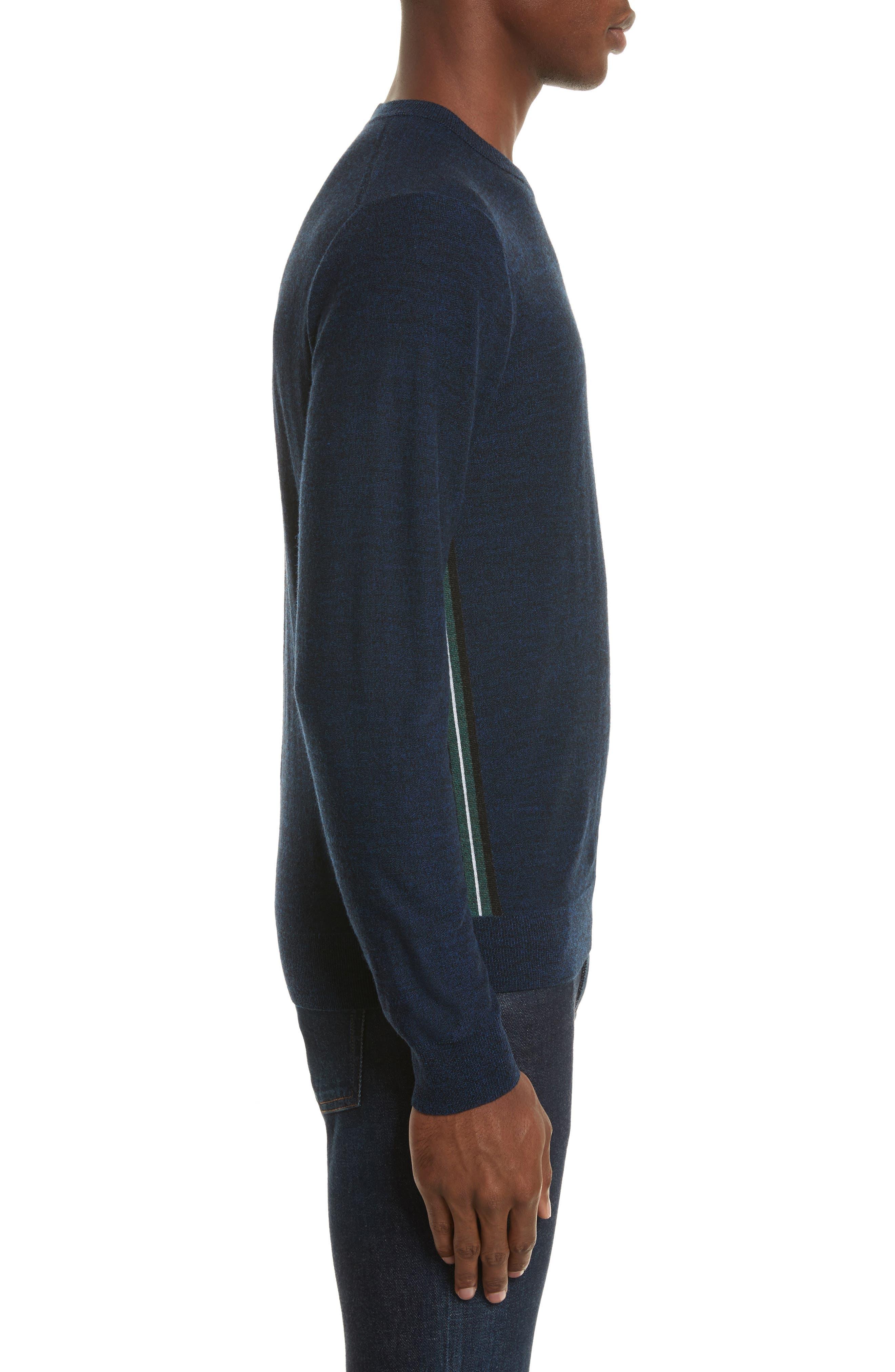 Side Stripe Merino Wool Sweater,                             Alternate thumbnail 3, color,                             410