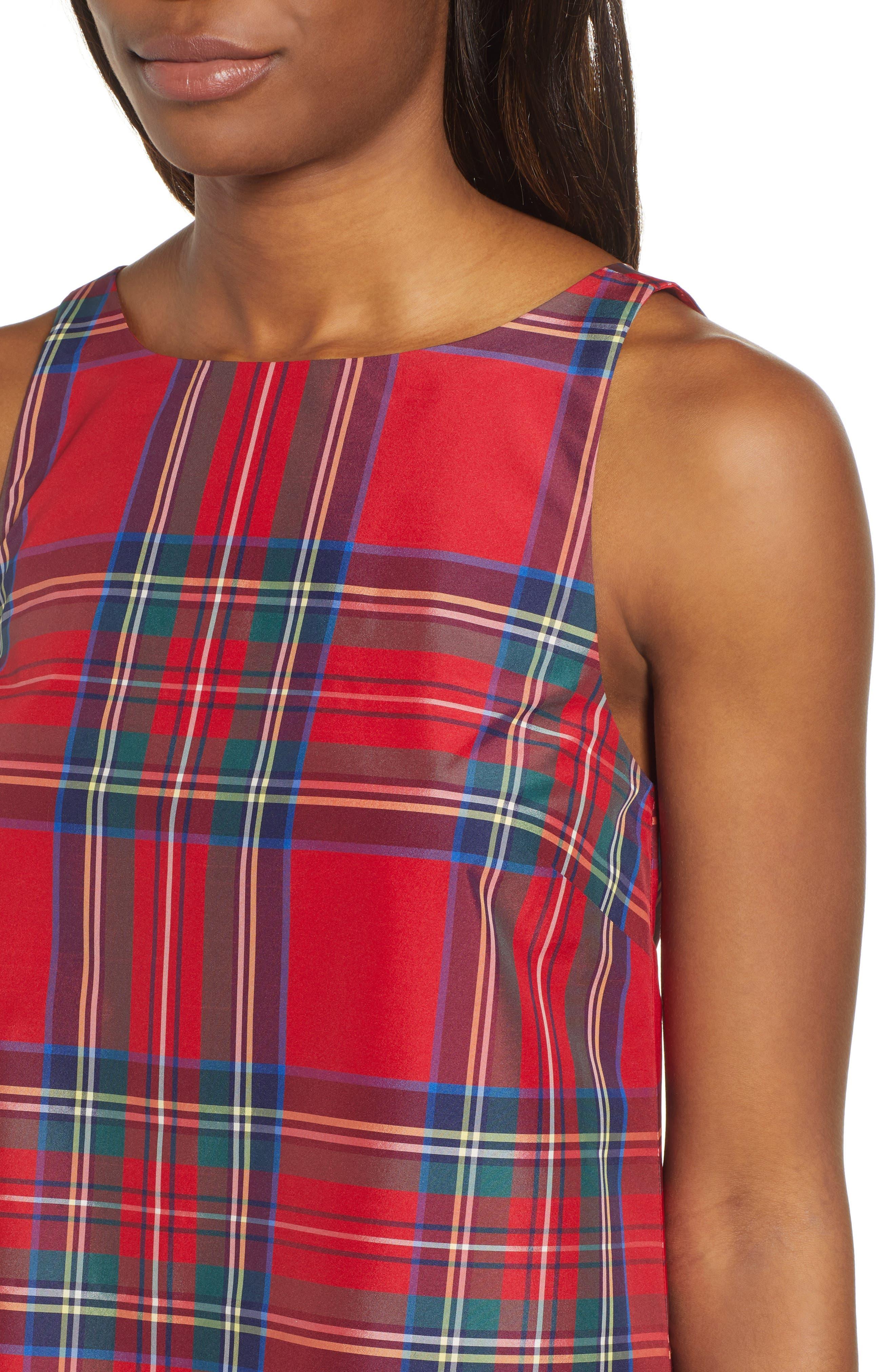 Amelia Jolly Plaid Swing Dress,                             Alternate thumbnail 4, color,                             CALYPSO RED