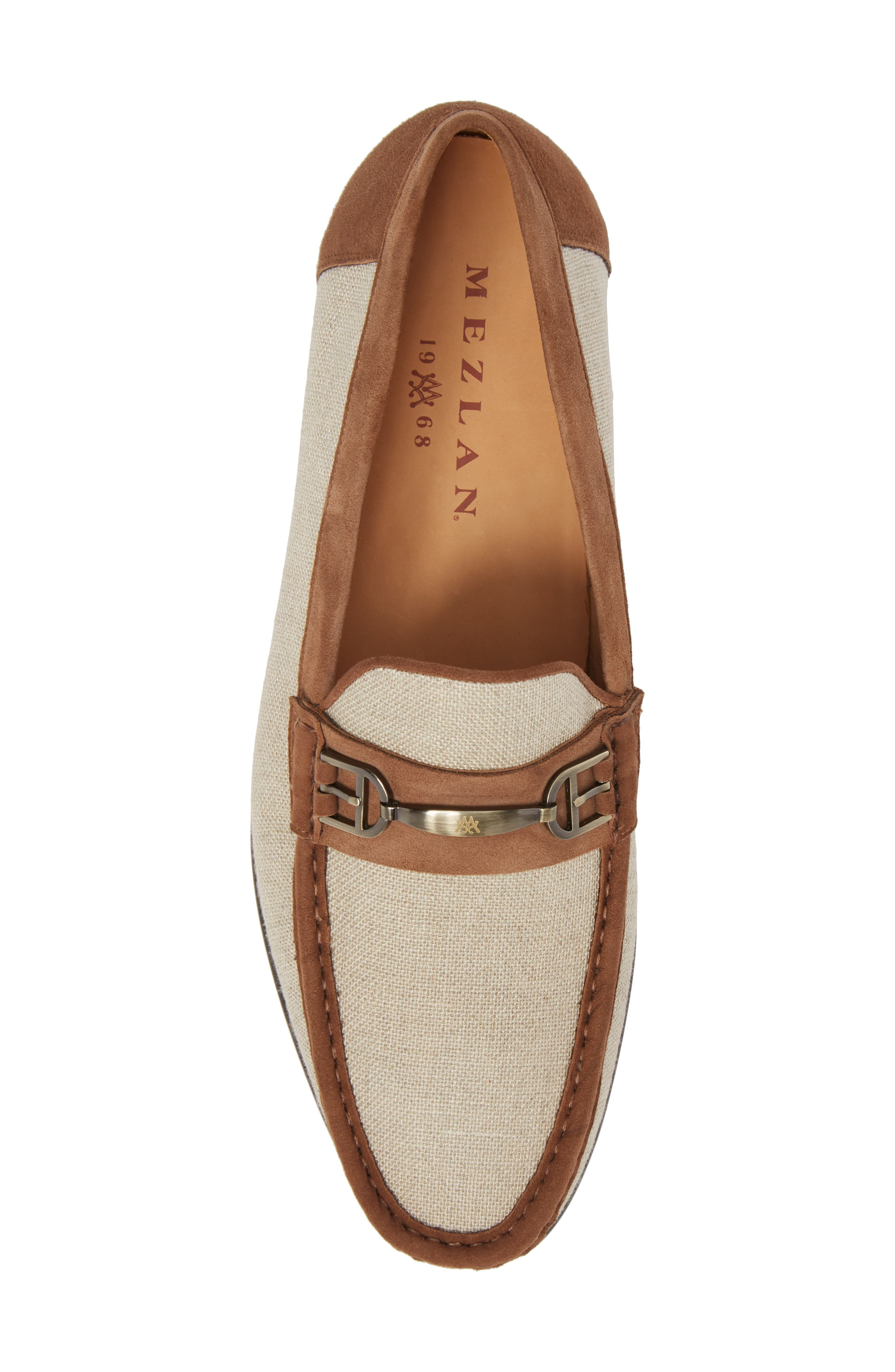 Jason Two-Tone Bit Loafer,                             Alternate thumbnail 5, color,                             BONE/ COGNAC LINEN/ SUEDE