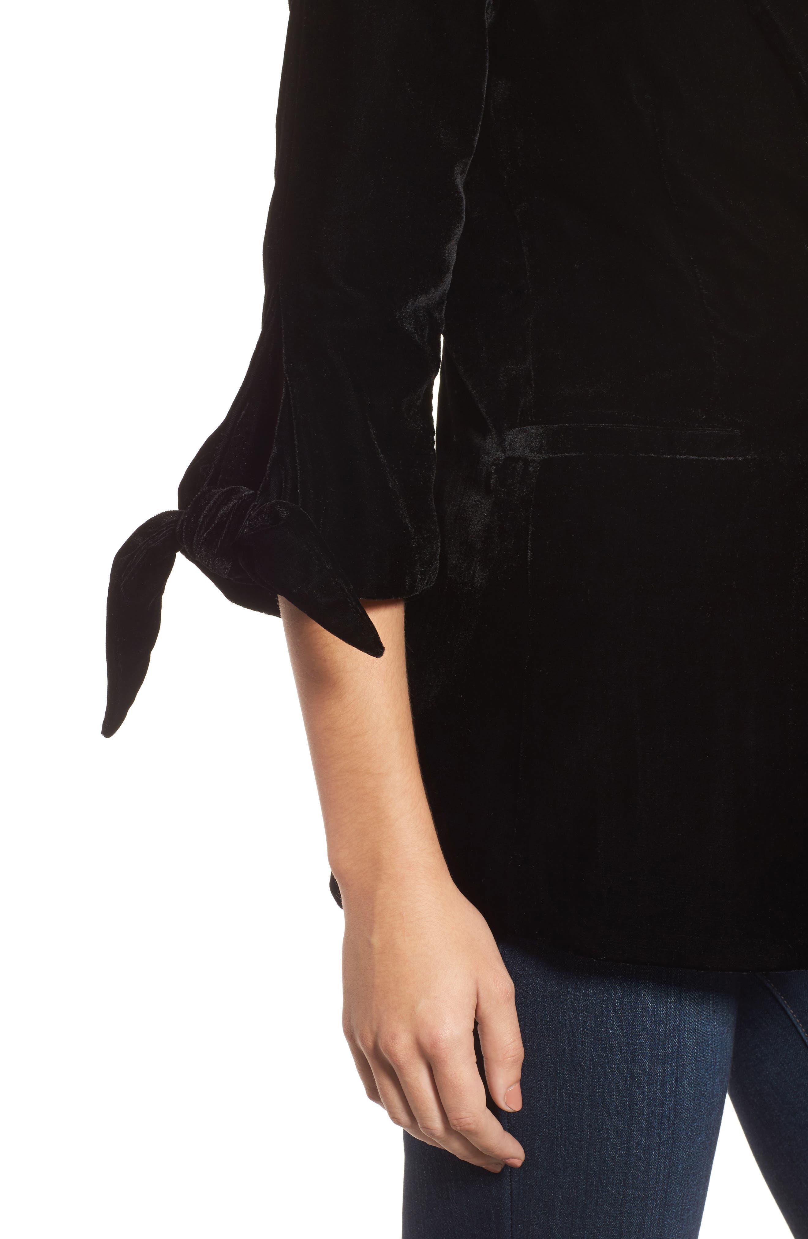 Tie Sleeve Velvet Blazer,                             Alternate thumbnail 4, color,                             001