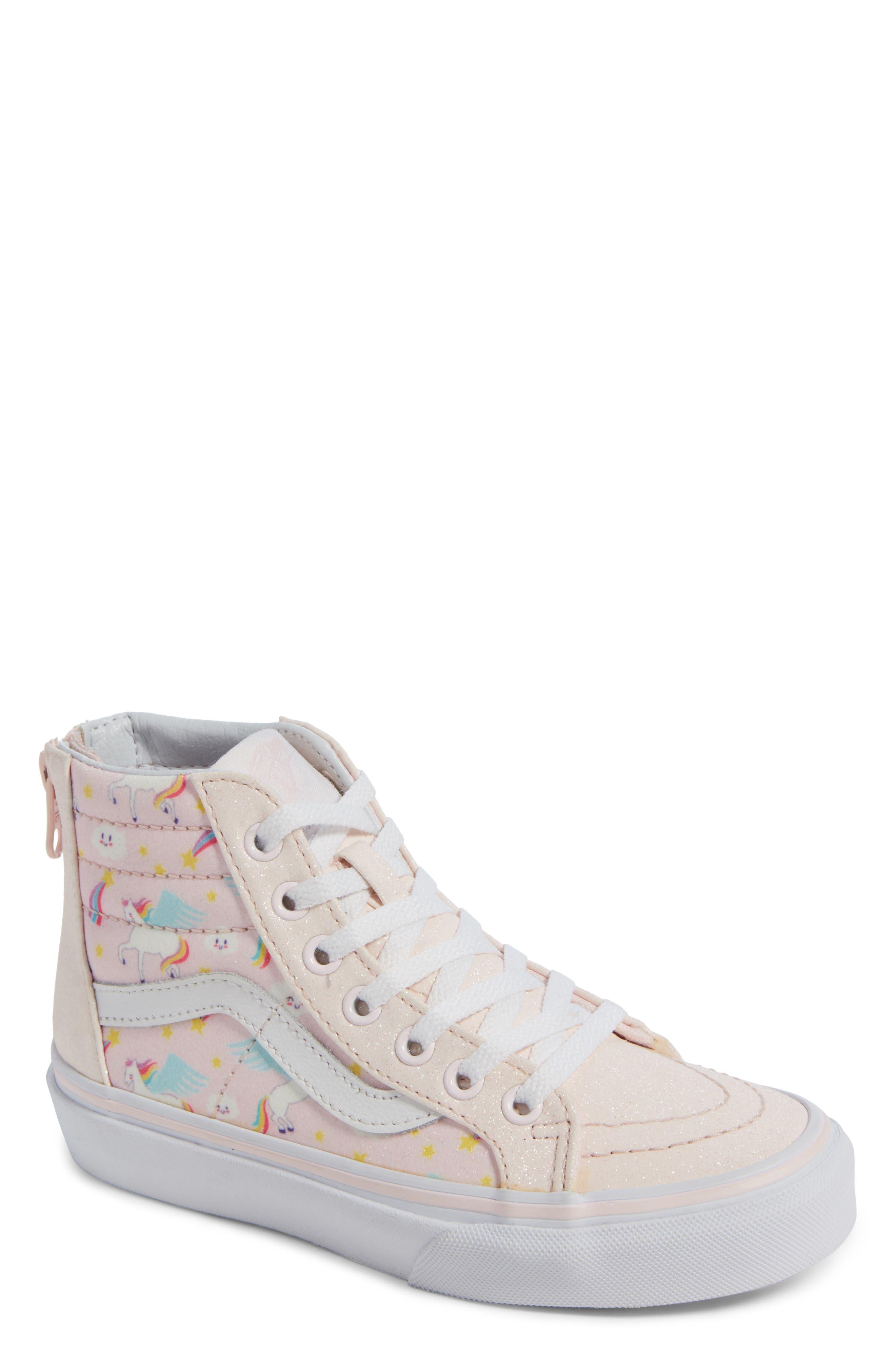 Sk8-Hi Zip Sneaker,                             Main thumbnail 1, color,                             GLITTER PEGASUS PINK/ WHITE