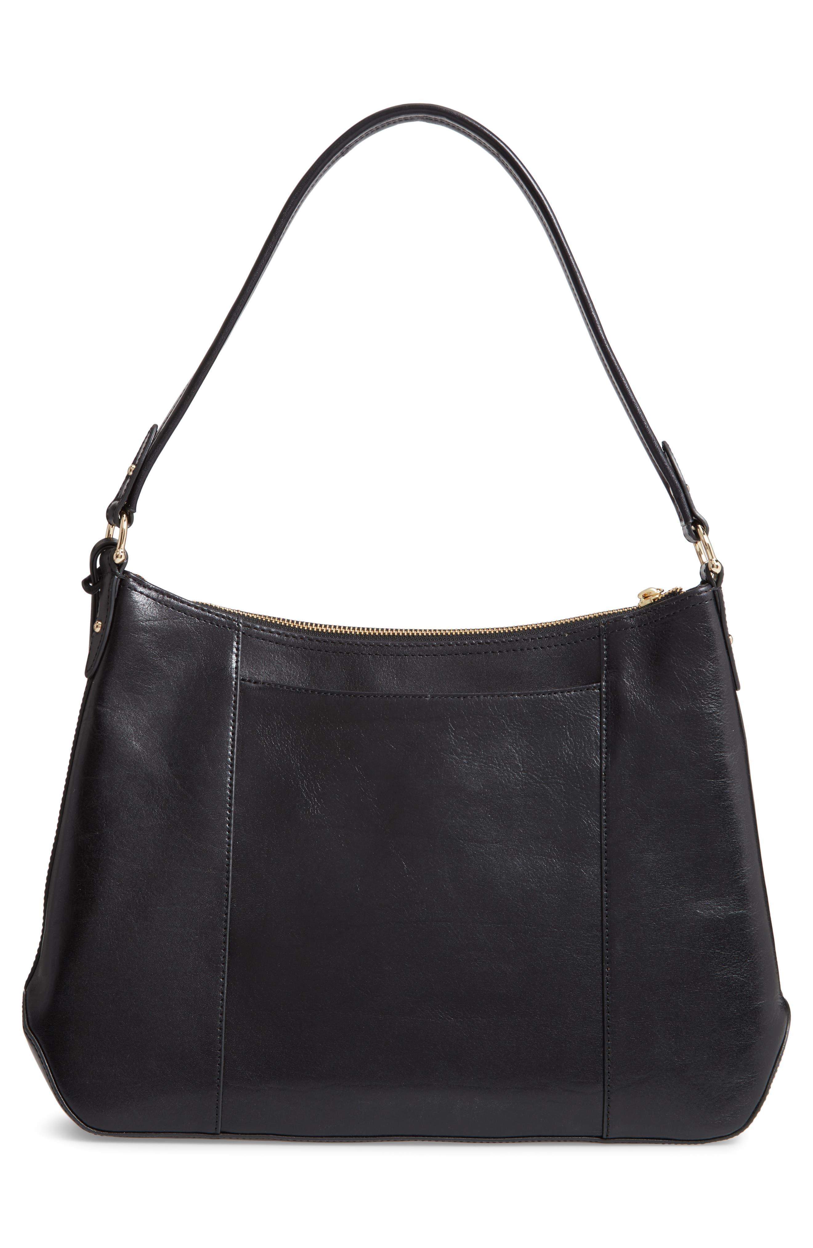 Weslynn Leather Shoulder Bag,                             Alternate thumbnail 3, color,                             BLACK