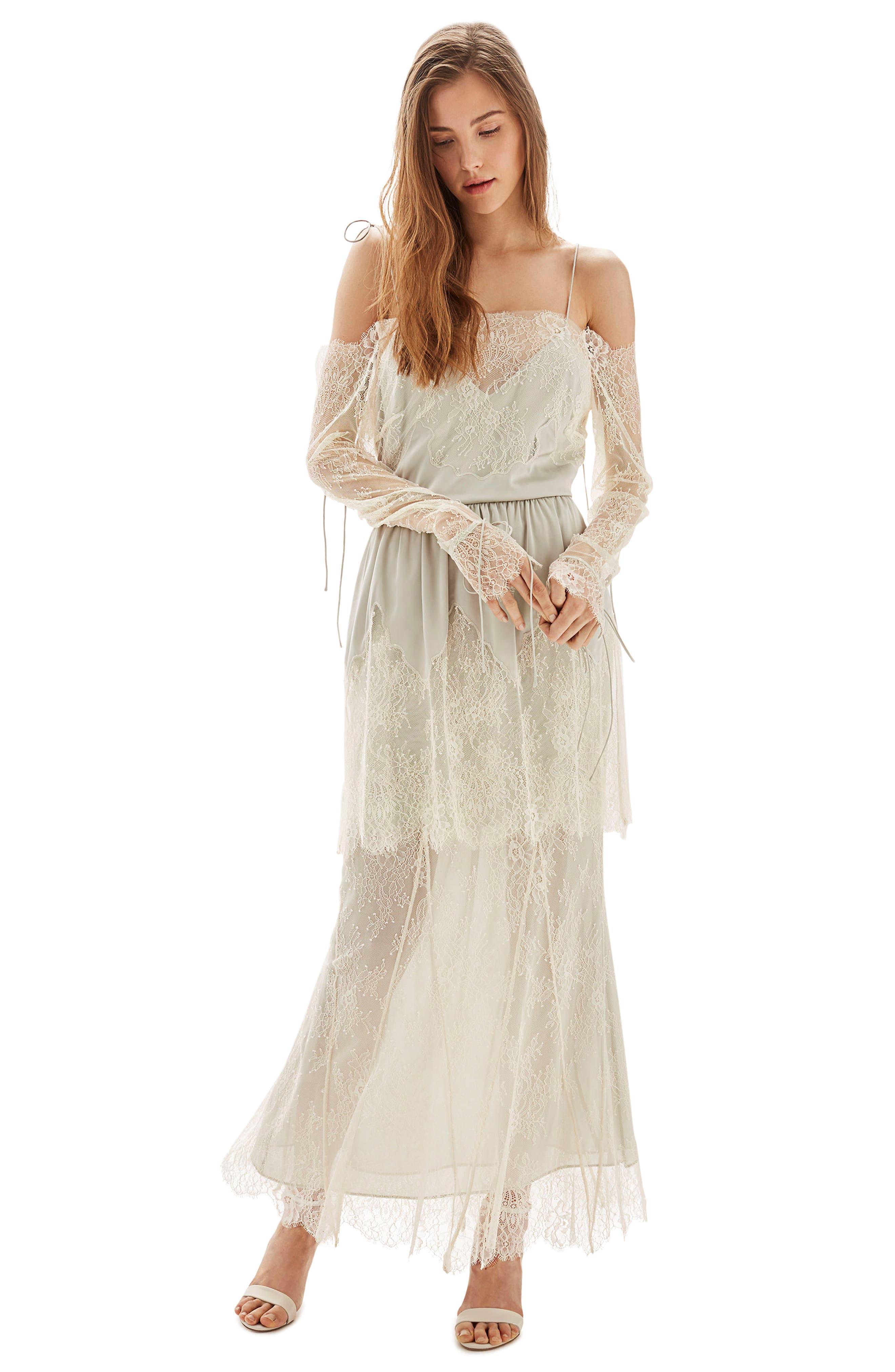 Bride Bardot Lace Off the Shoulder Gown,                             Main thumbnail 1, color,                             900