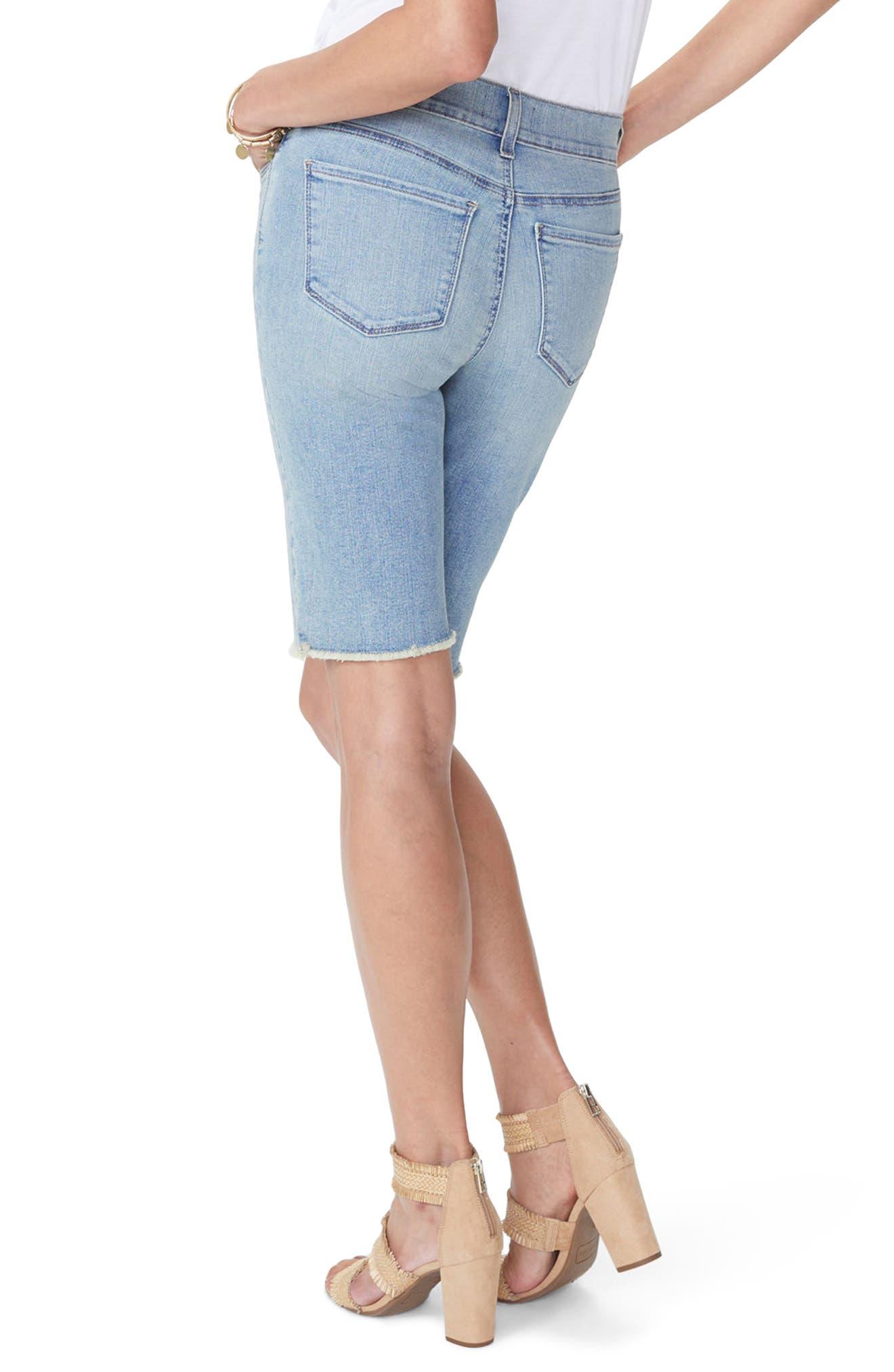 Briella Frayed Hem Denim Bermuda Shorts,                             Alternate thumbnail 2, color,                             WESTLAND