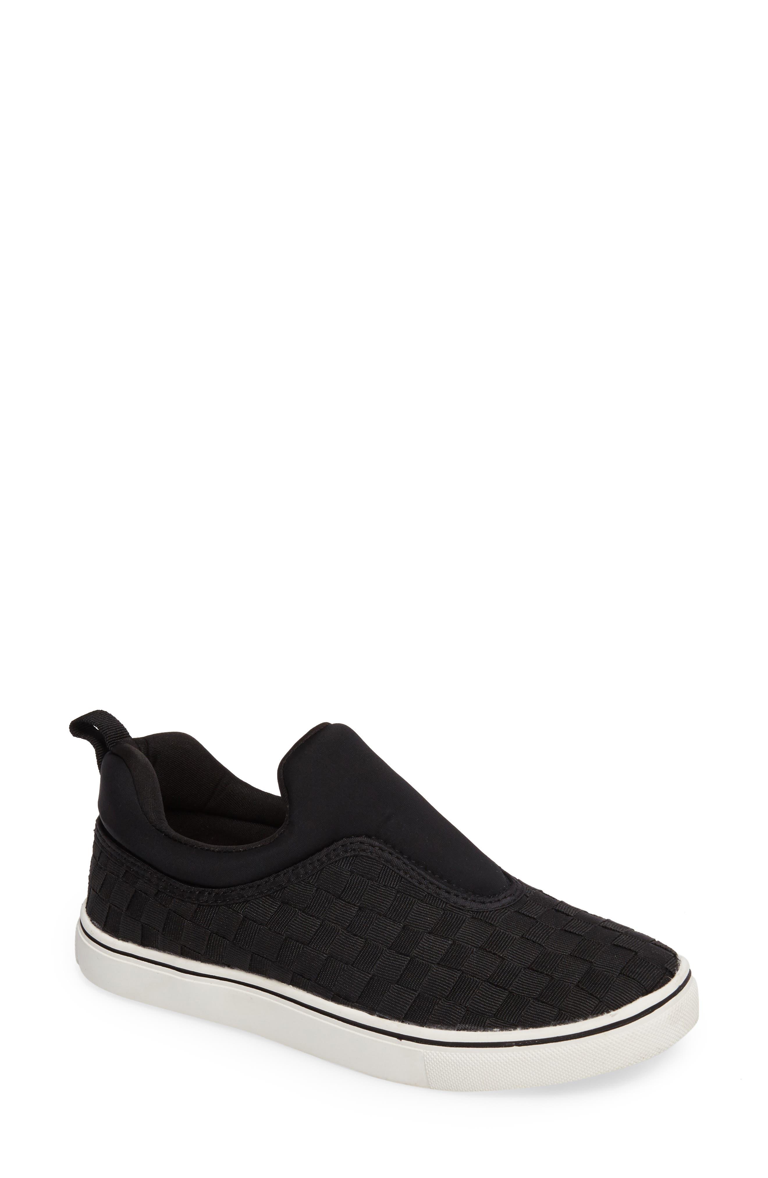 Bernie Mev Joan Slip-On Sneaker,                             Main thumbnail 1, color,                             BLACK/ BLACK FABRIC